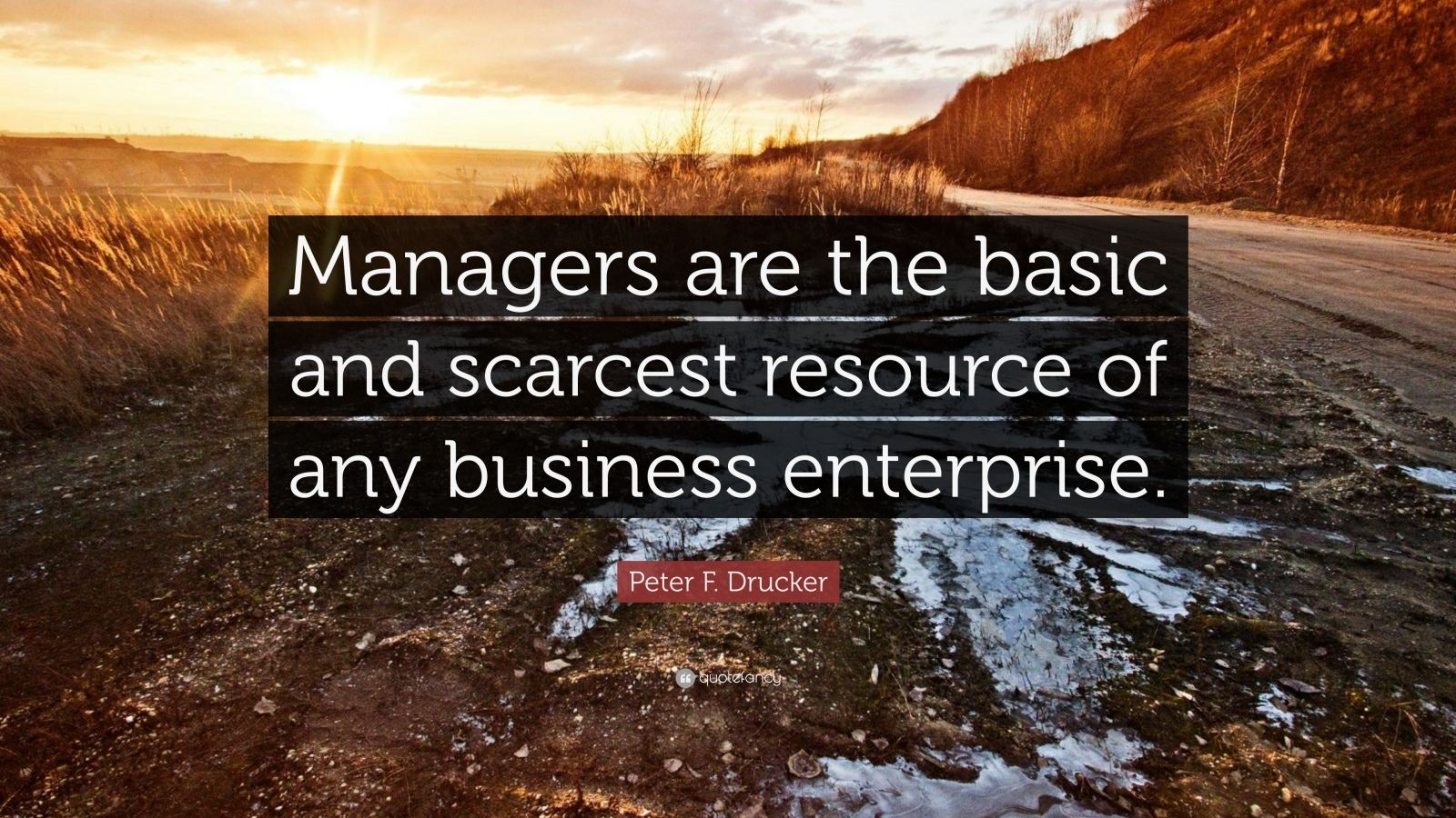 """Peter F. Drucker Quote: """"Managers are the basic and scarcest resource of any business enterprise."""""""