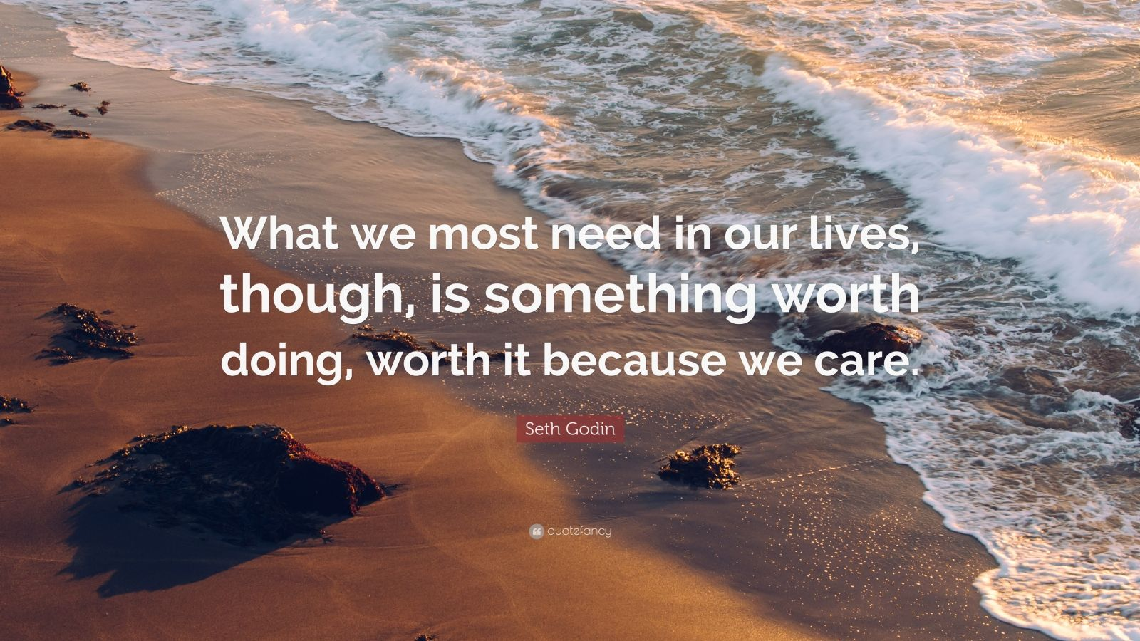 "Seth Godin Quote: ""What we most need in our lives, though, is something worth doing, worth it because we care."""