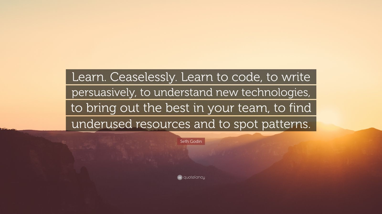 "Seth Godin Quote: ""Learn. Ceaselessly. Learn to code, to write persuasively, to understand new technologies, to bring out the best in your team, to find underused resources and to spot patterns."""