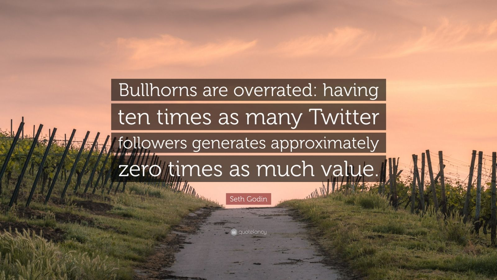 """Seth Godin Quote: """"Bullhorns are overrated: having ten times as many Twitter followers generates approximately zero times as much value."""""""
