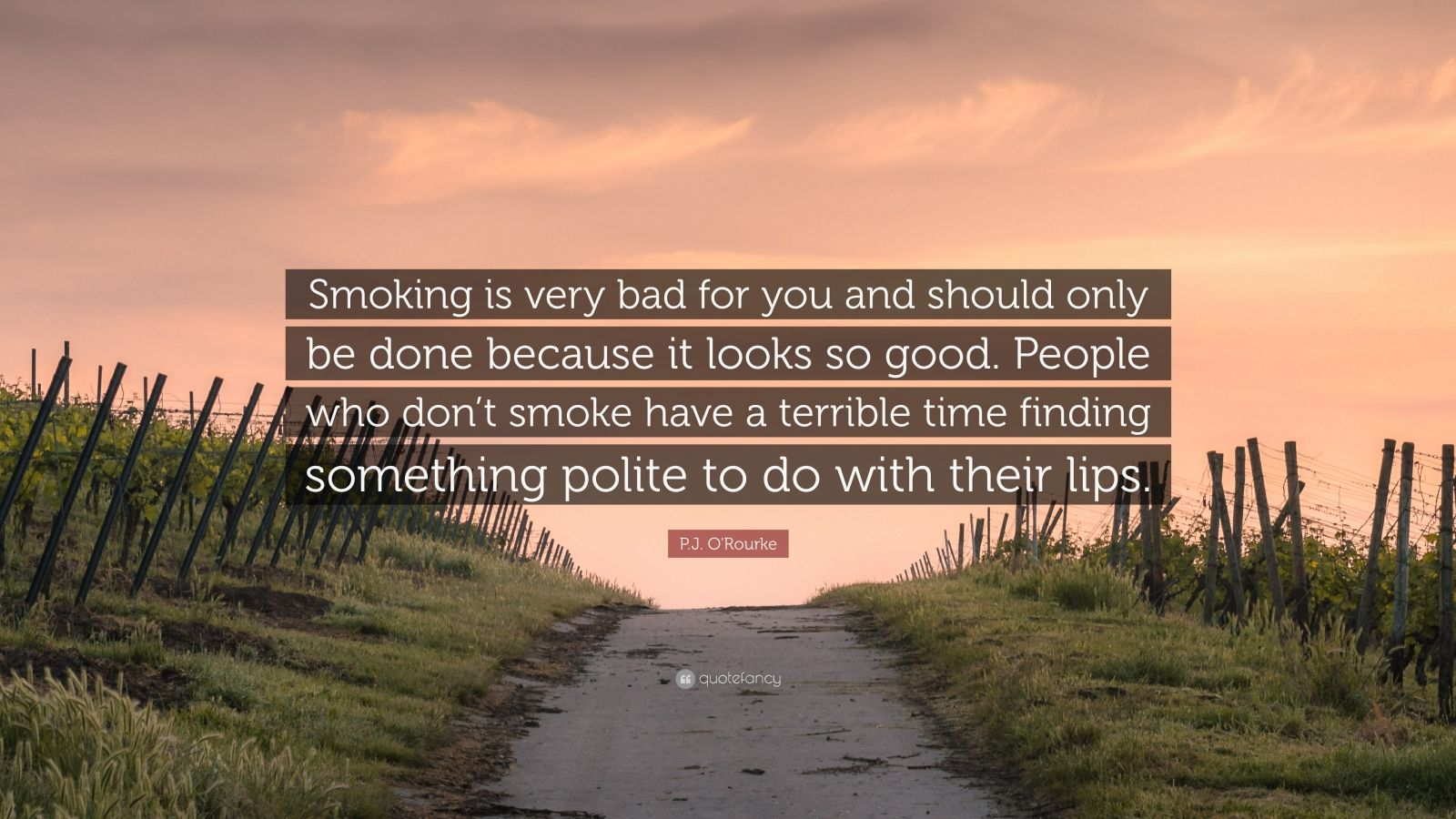 "P.J. O'Rourke Quote: ""Smoking is very bad for you and should only be done because it looks so good. People who don't smoke have a terrible time finding something polite to do with their lips."""