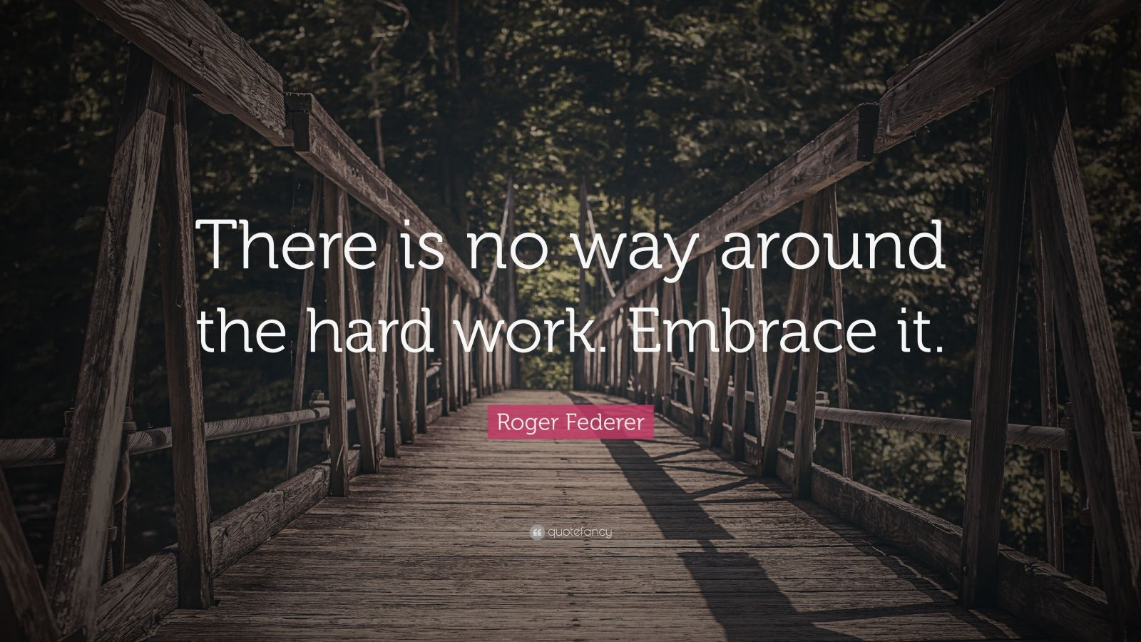 "Roger Federer Quote: ""There is no way around the hard work. Embrace it."""