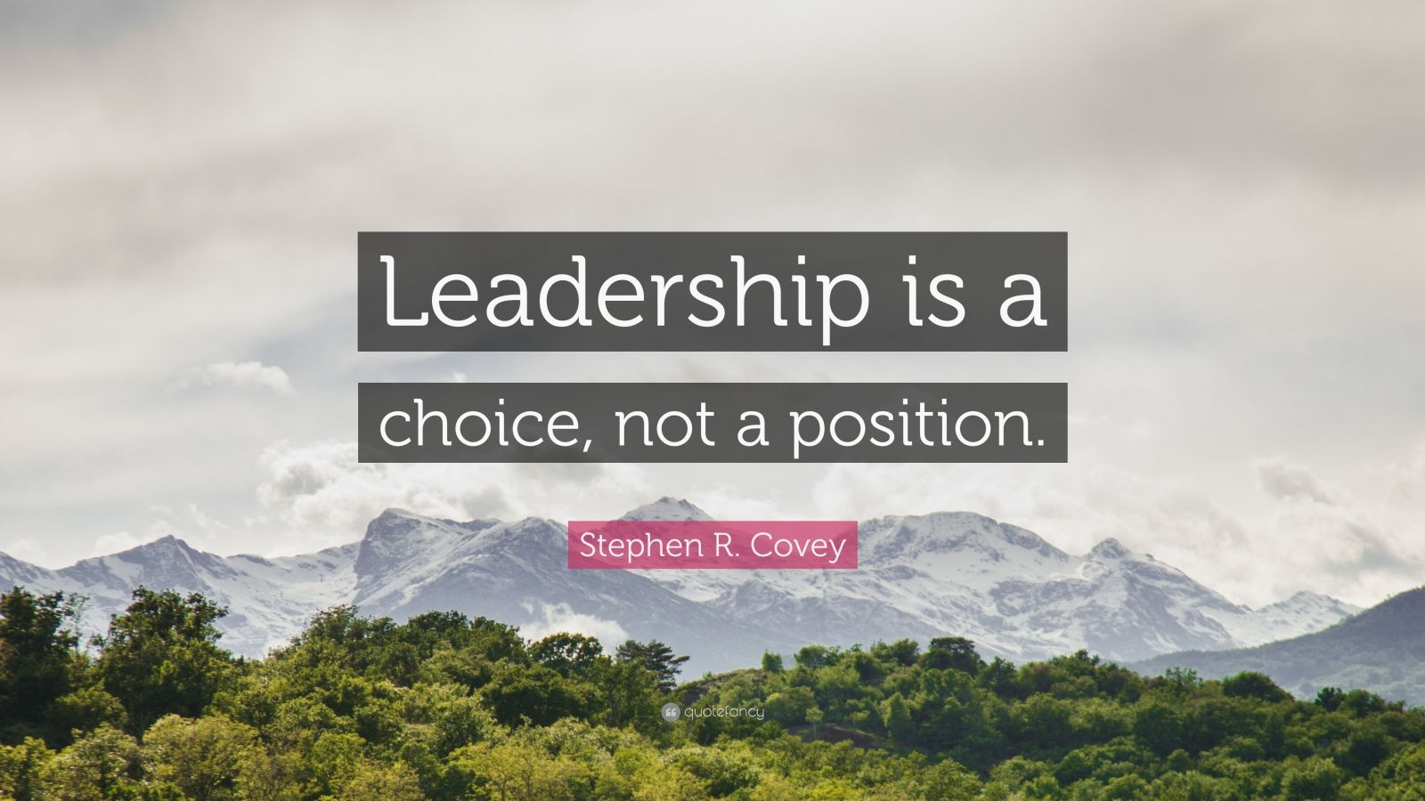 "Stephen R. Covey Quote: ""Leadership is a choice, not a position."""