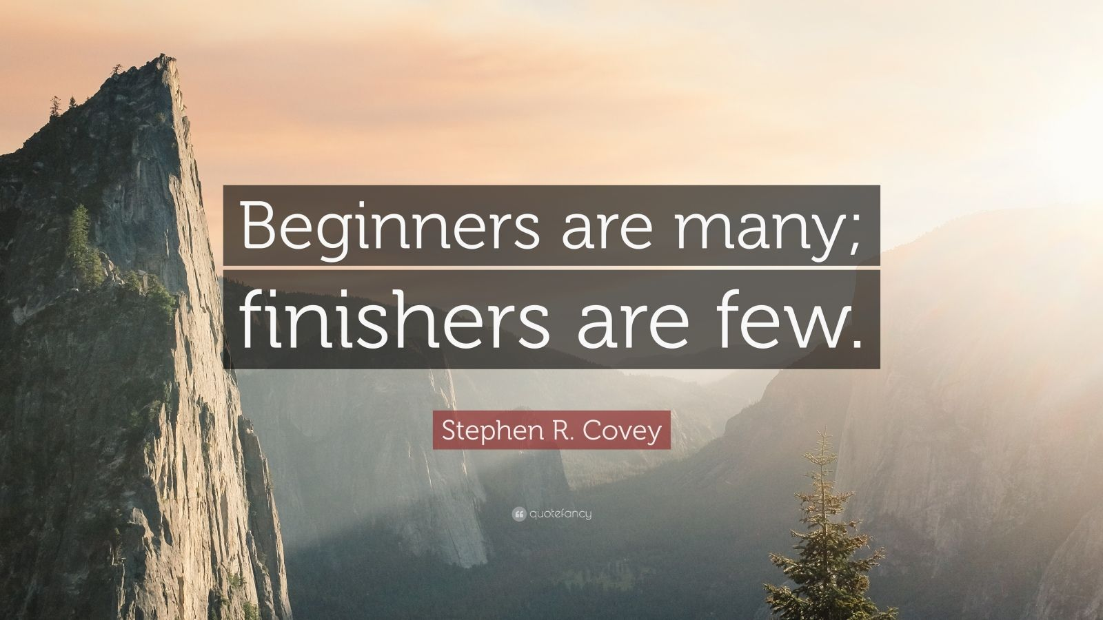 "Stephen R. Covey Quote: ""Beginners are many; finishers are few."""