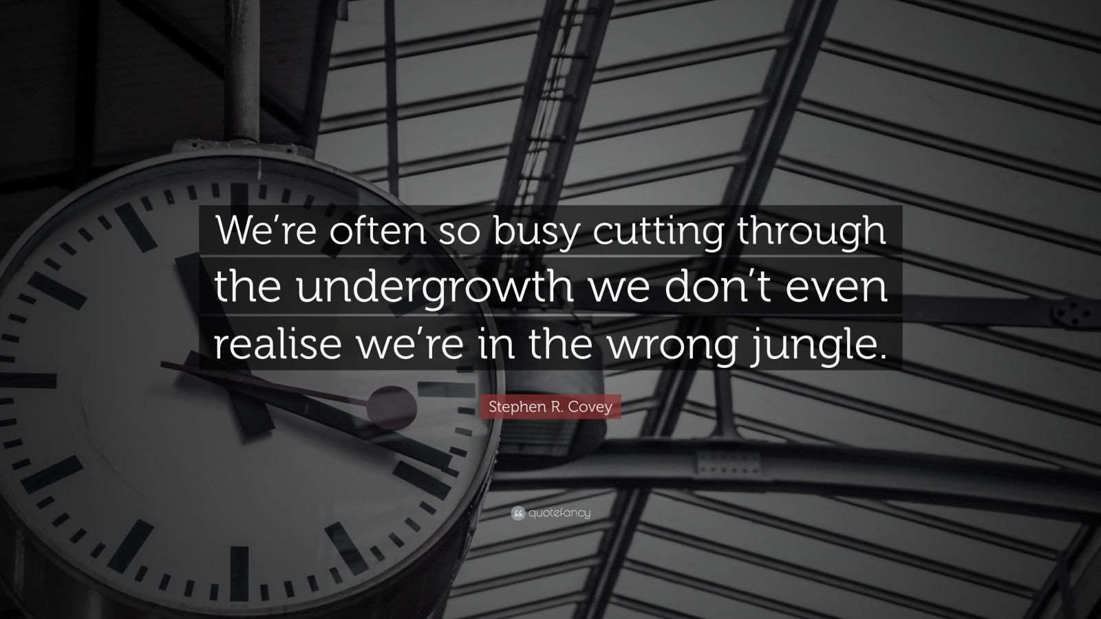 """Stephen R. Covey Quote: """"We're often so busy cutting through the undergrowth we don't even realise we're in the wrong jungle."""""""