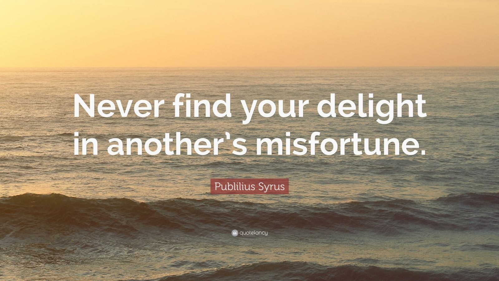 """Publilius Syrus Quote: """"Never find your delight in another's misfortune."""""""