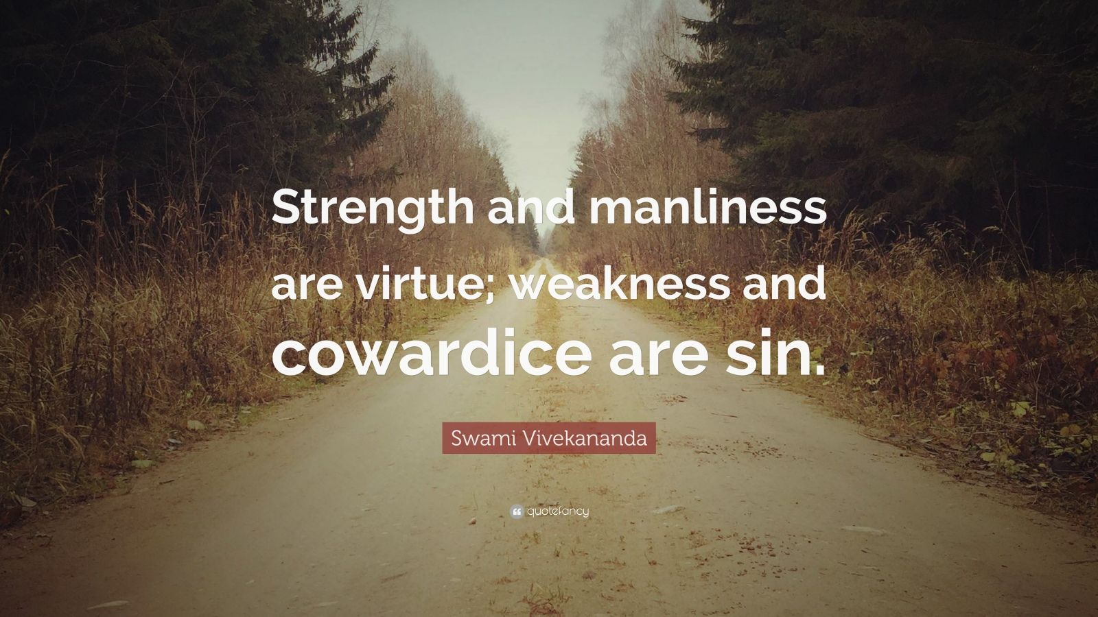 """Swami Vivekananda Quote: """"Strength and manliness are virtue; weakness and cowardice are sin."""""""