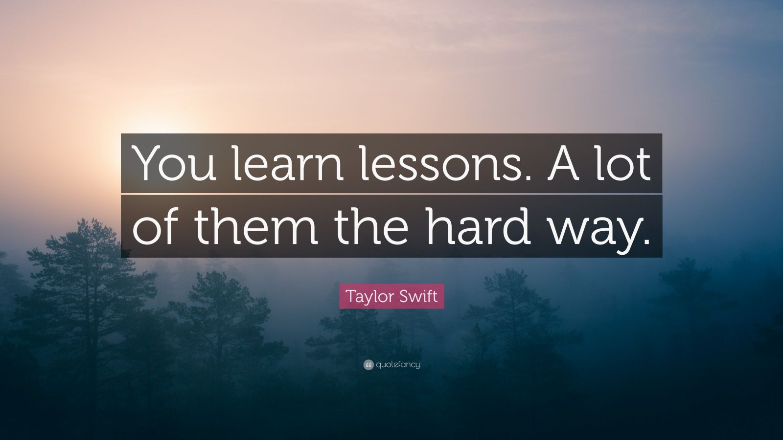 "Taylor Swift Quote: ""You learn lessons. A lot of them the hard way."""