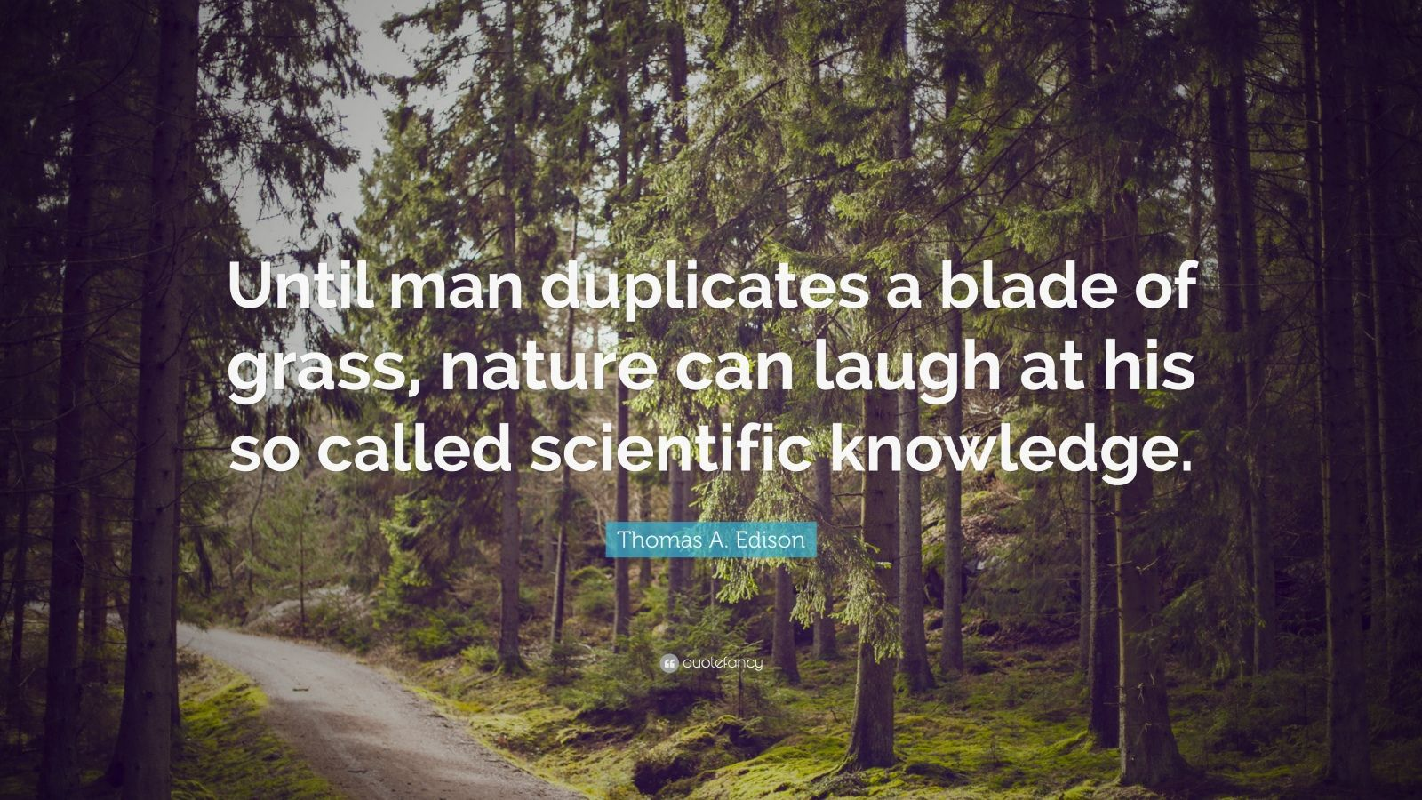 "Thomas A. Edison Quote: ""Until man duplicates a blade of grass, nature can laugh at his so called scientific knowledge."""