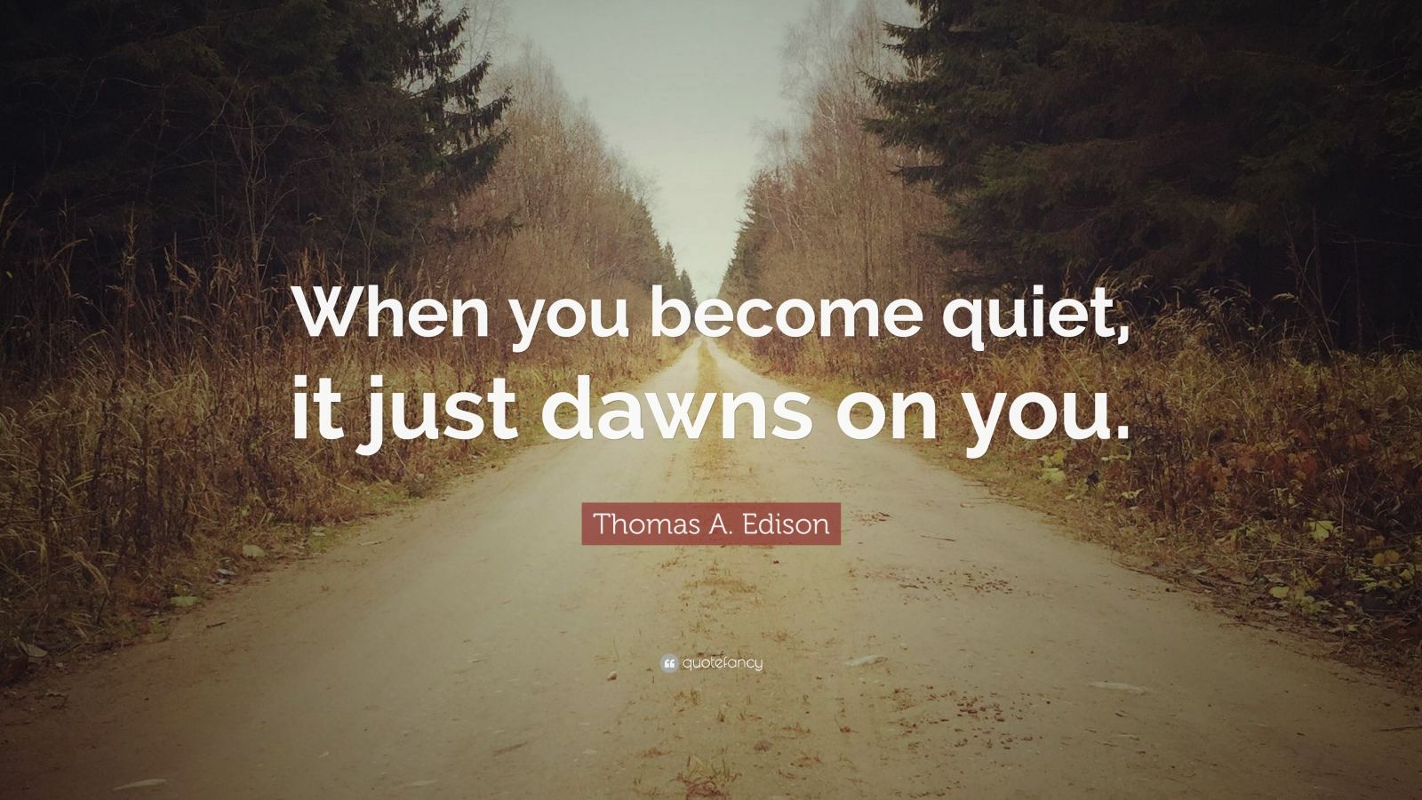 """Thomas A. Edison Quote: """"When you become quiet, it just dawns on you."""""""