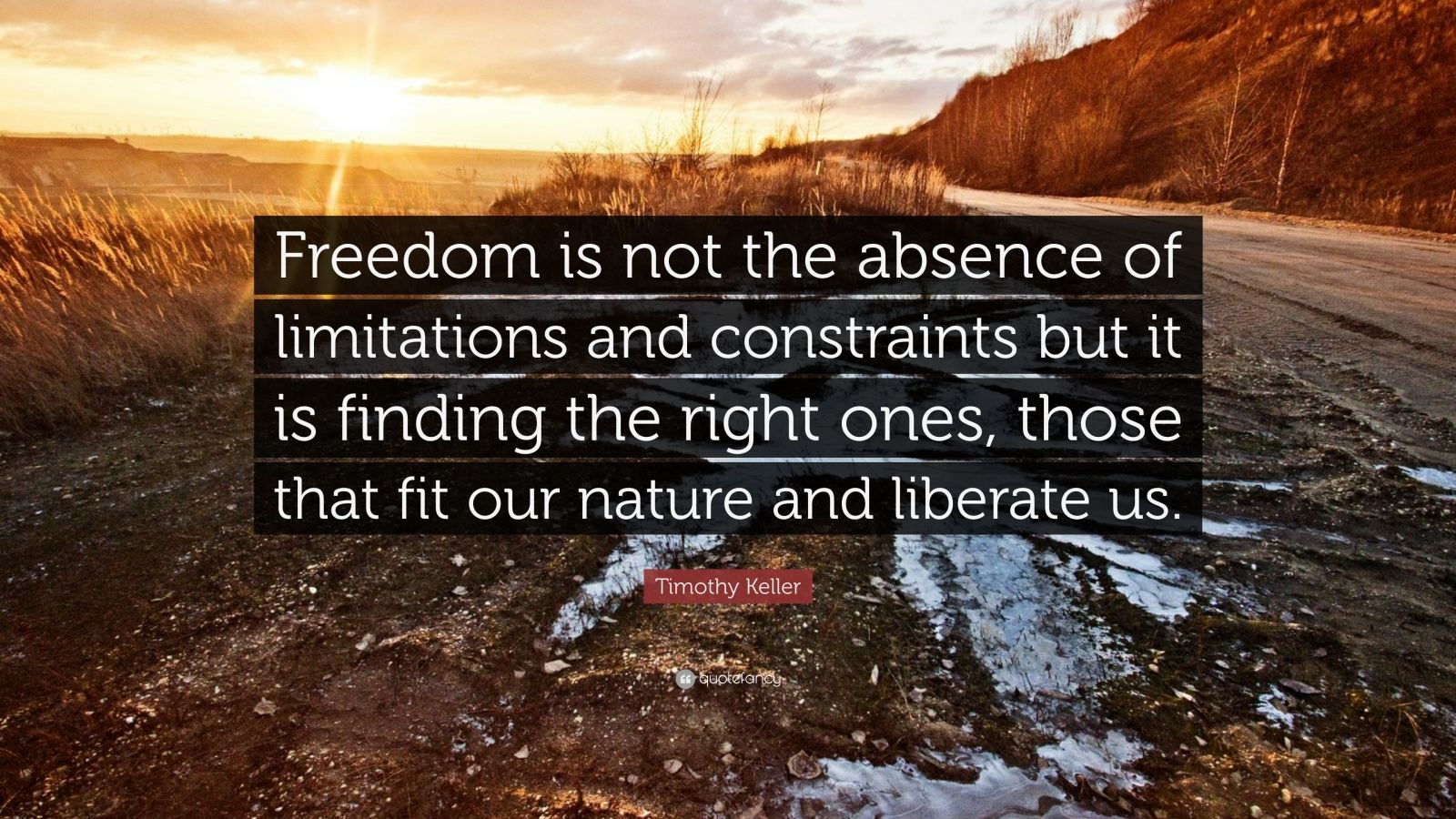 """Timothy Keller Quote: """"Freedom is not the absence of limitations and constraints but it is finding the right ones, those that fit our nature and liberate us."""""""