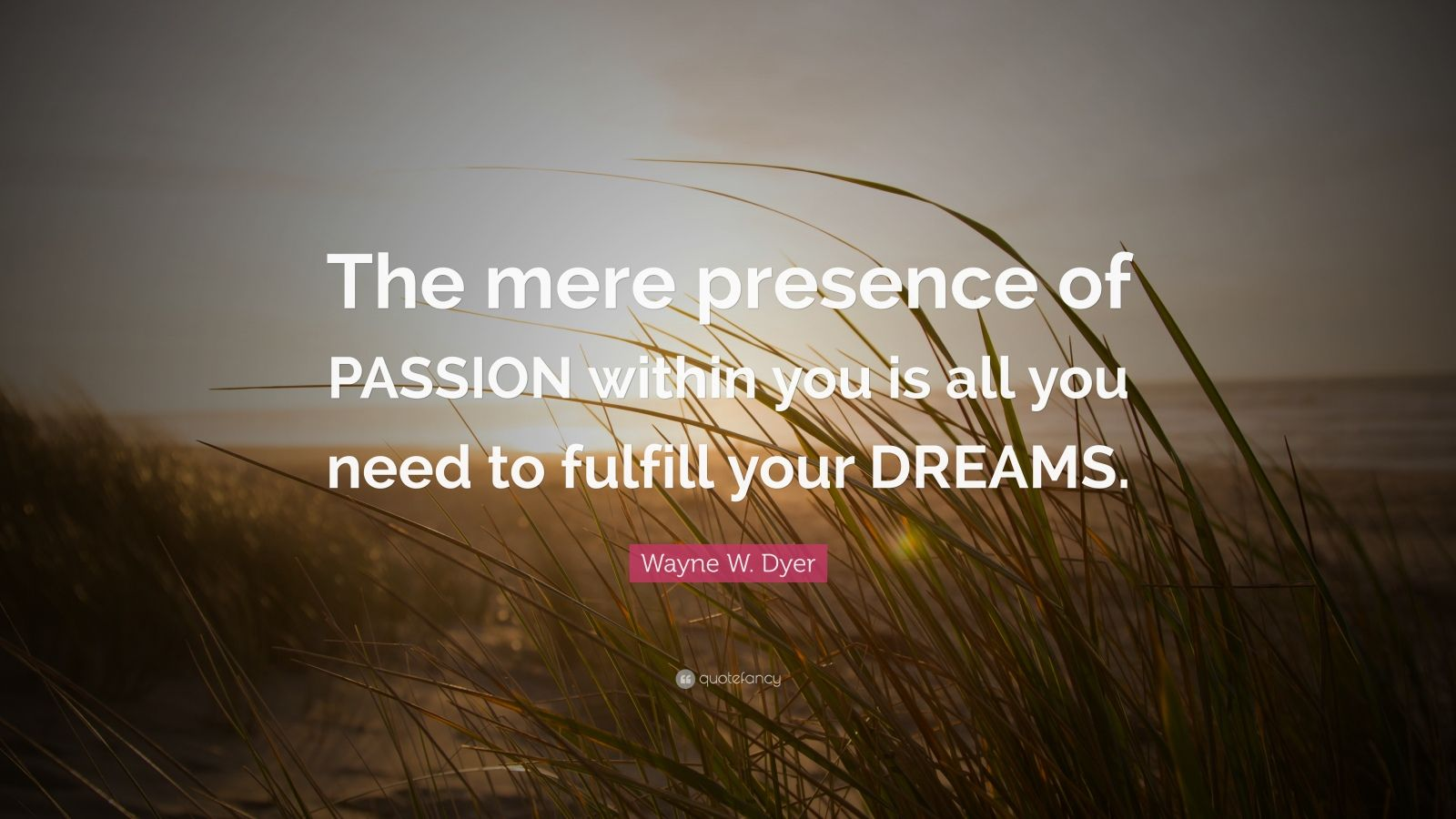 "Wayne W. Dyer Quote: ""The mere presence of PASSION within you is all you need to fulfill your DREAMS."""