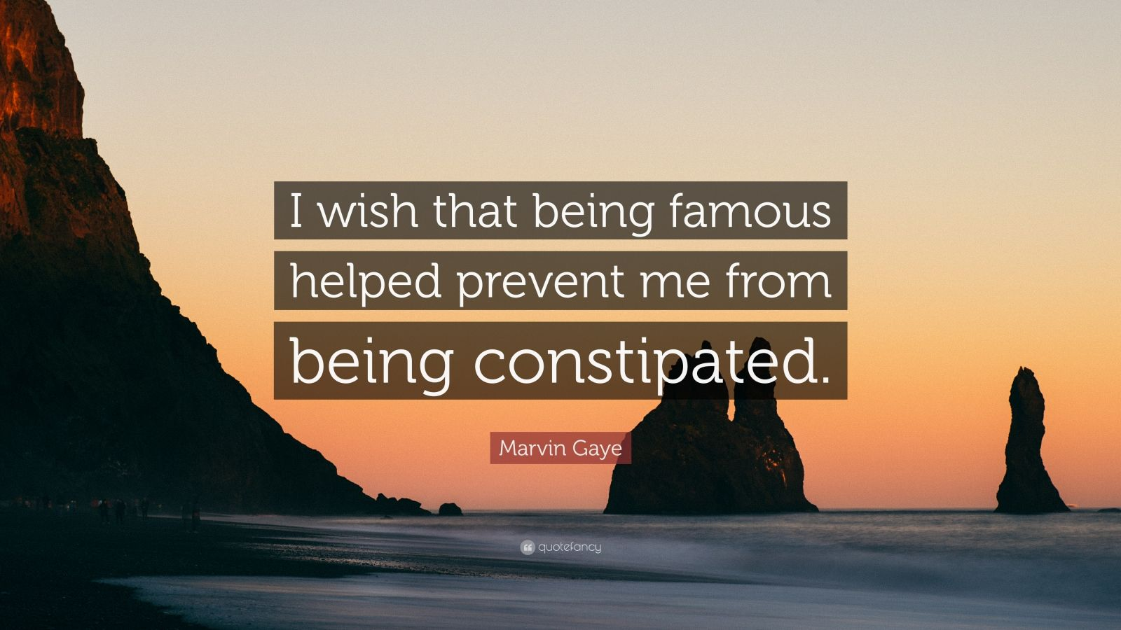 """Marvin Gaye Quote: """"I wish that being famous helped prevent me from being constipated."""""""