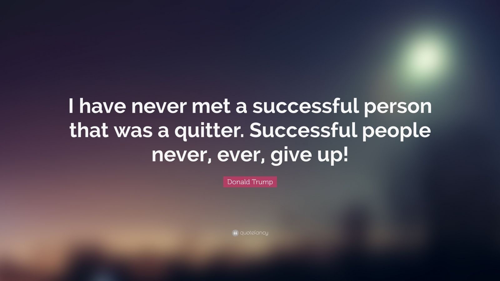 """Donald Trump Quote: """"I have never met a successful person that was a quitter. Successful people never, ever, give up!"""""""