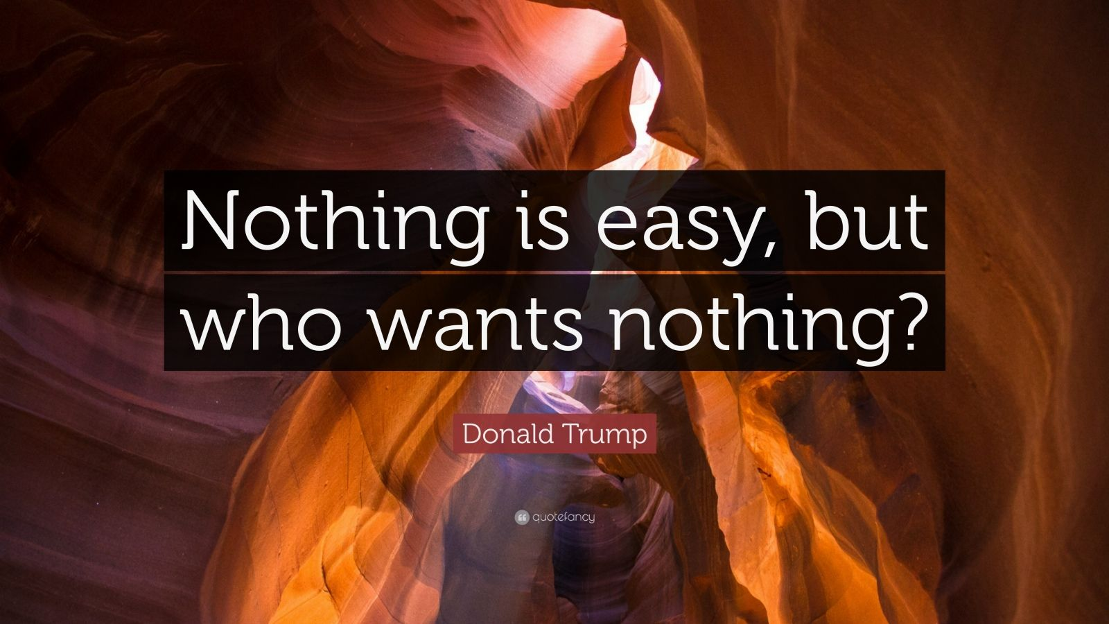 """Donald Trump Quote: """"Nothing is easy, but who wants nothing?"""""""