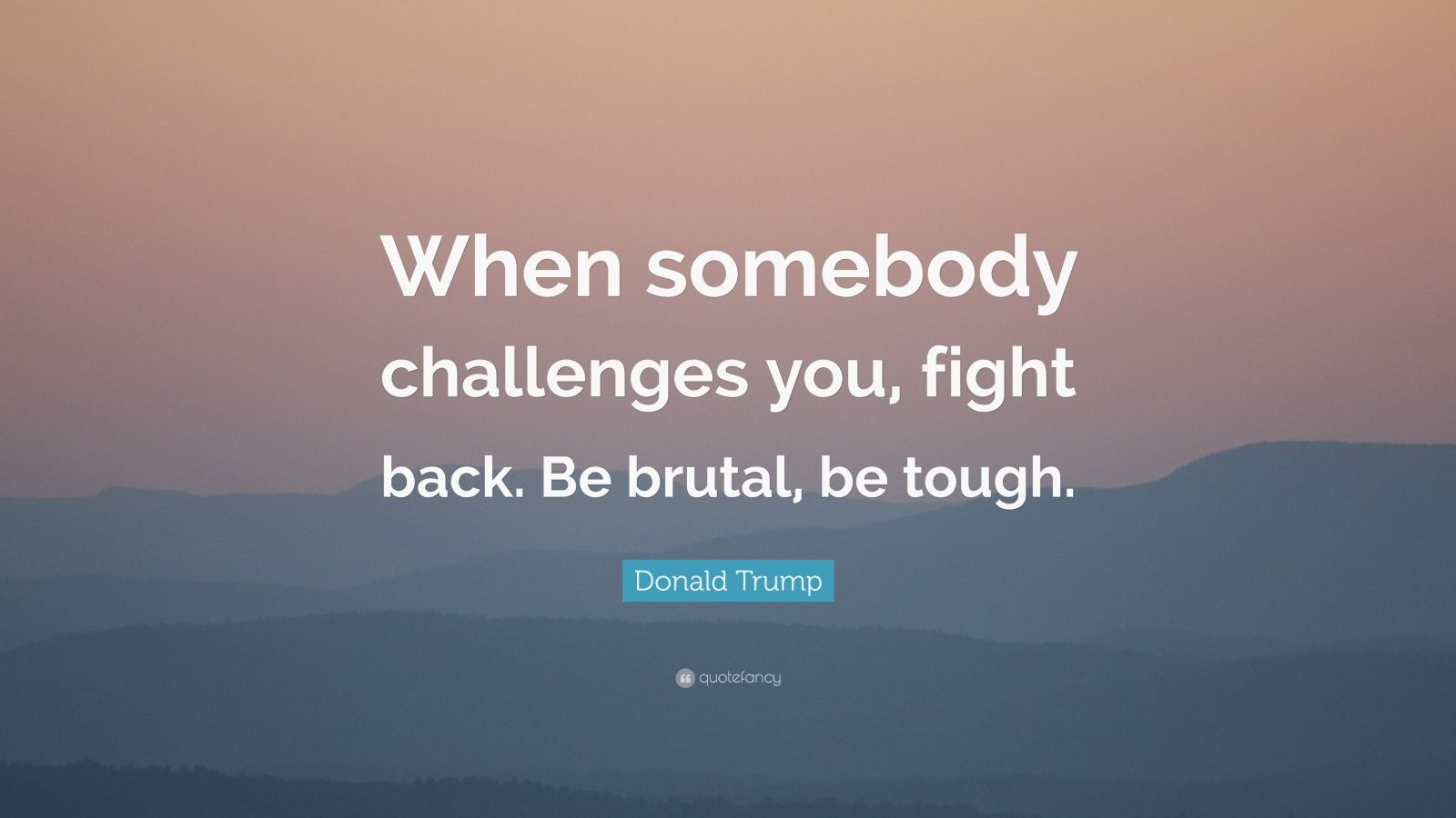 "Donald Trump Quote: ""When somebody challenges you, fight back. Be brutal, be tough."""