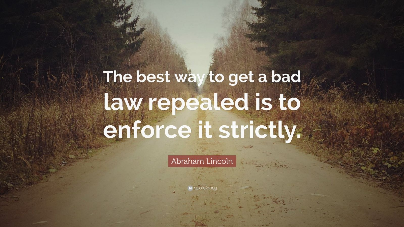 "Abraham Lincoln Quote: ""The best way to get a bad law repealed is to enforce it strictly."""