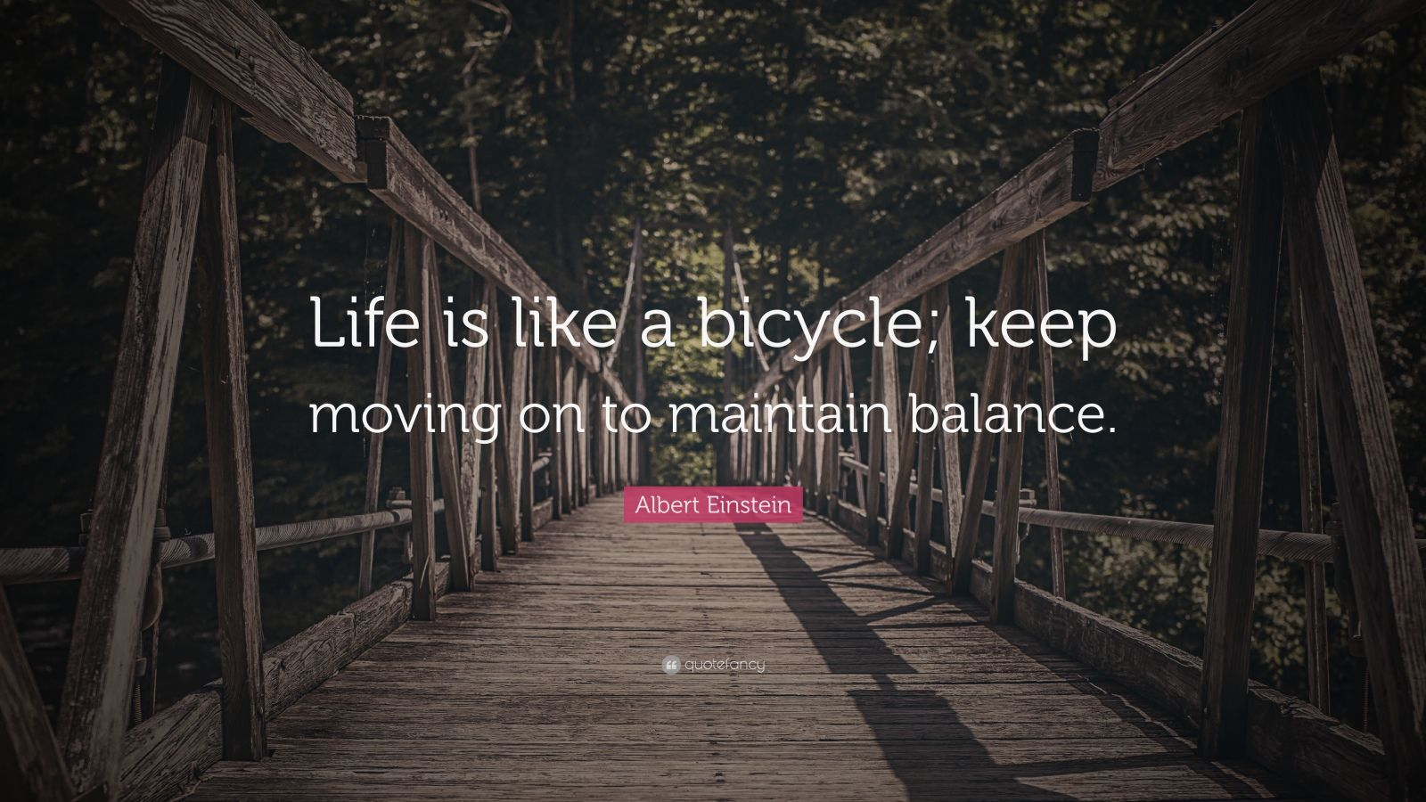 """Albert Einstein Quote: """"Life is like a bicycle; keep moving on to maintain balance."""""""