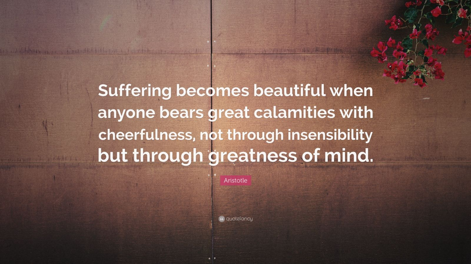 "Aristotle Quote: ""Suffering becomes beautiful when anyone bears great calamities with cheerfulness, not through insensibility but through greatness of mind."""