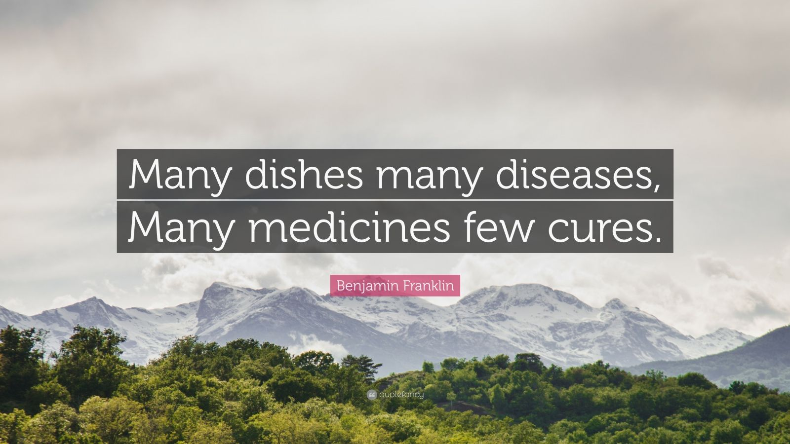 """Benjamin Franklin Quote: """"Many dishes many diseases, Many medicines few cures."""""""