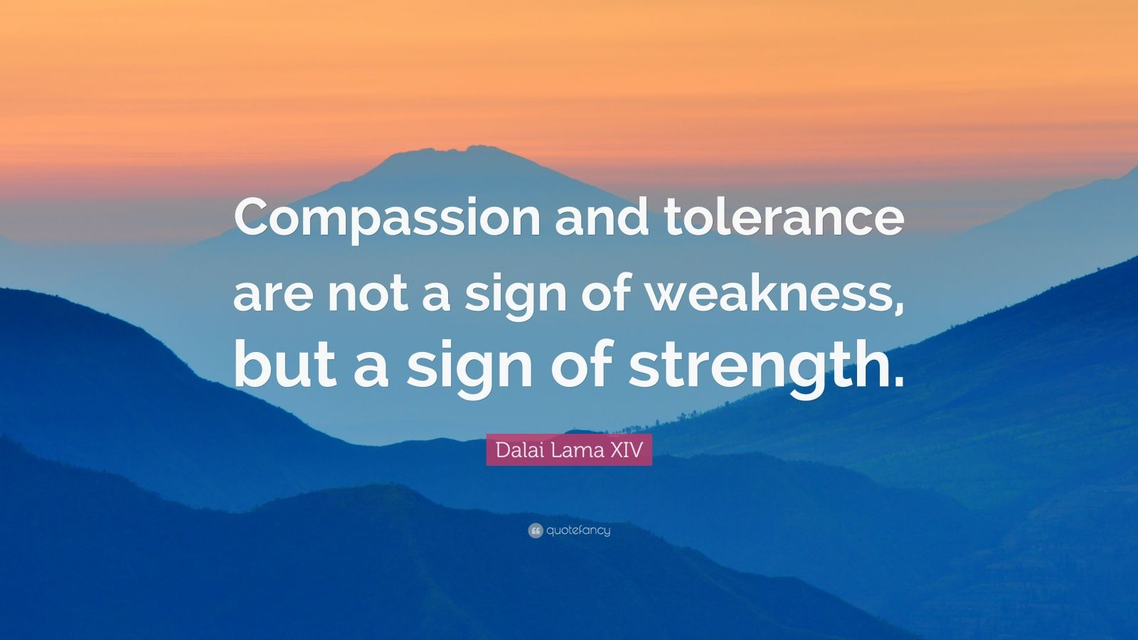 "Dalai Lama XIV Quote: ""Compassion and tolerance are not a sign of weakness, but a sign of strength."""
