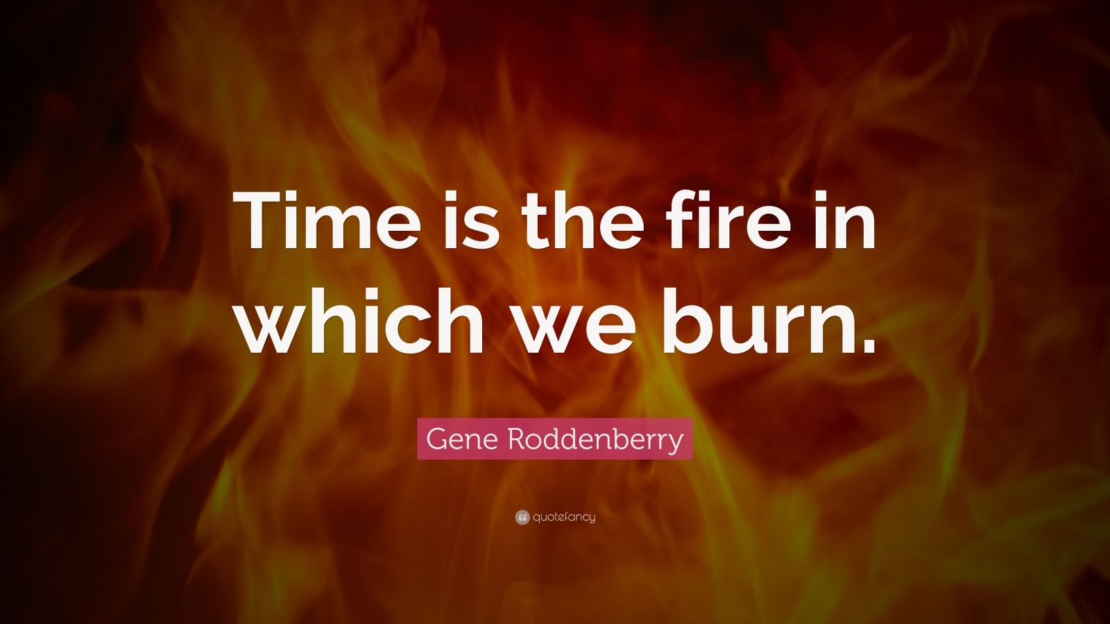 "Gene Roddenberry Quote: ""Time is the fire in which we burn."""
