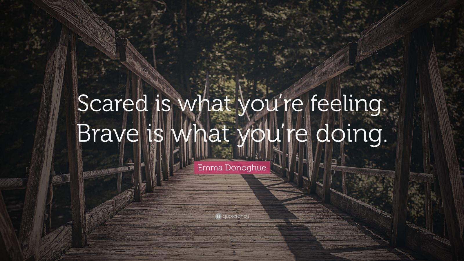 "Emma Donoghue Quote: ""Scared is what you're feeling.  Brave is what you're doing."""