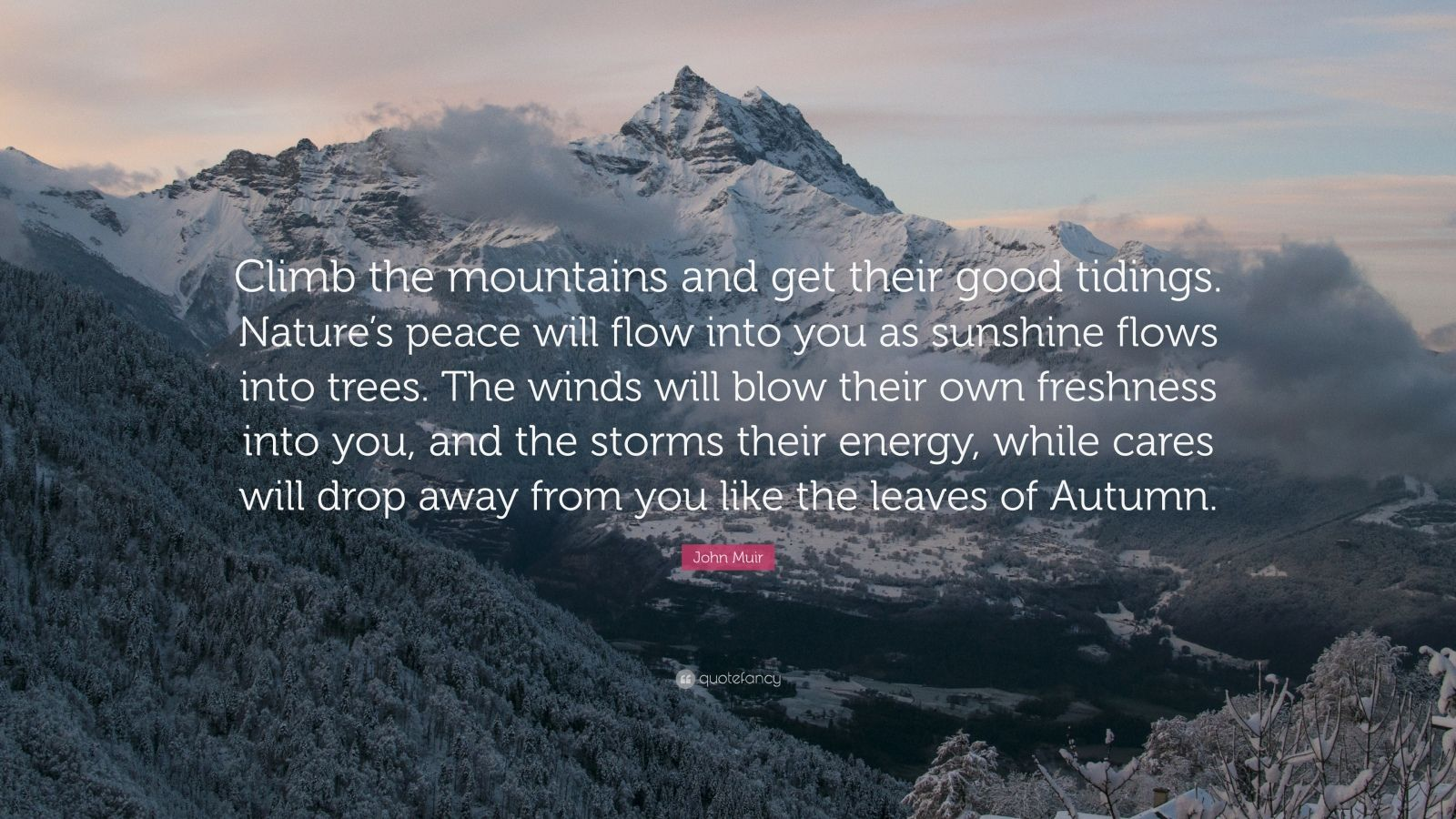 "John Muir Quote: ""Climb the mountains and get their good tidings. Nature's peace will flow into you as sunshine flows into trees. The winds will blow their own freshness into you, and the storms their energy, while cares will drop away from you like the leaves of Autumn."""