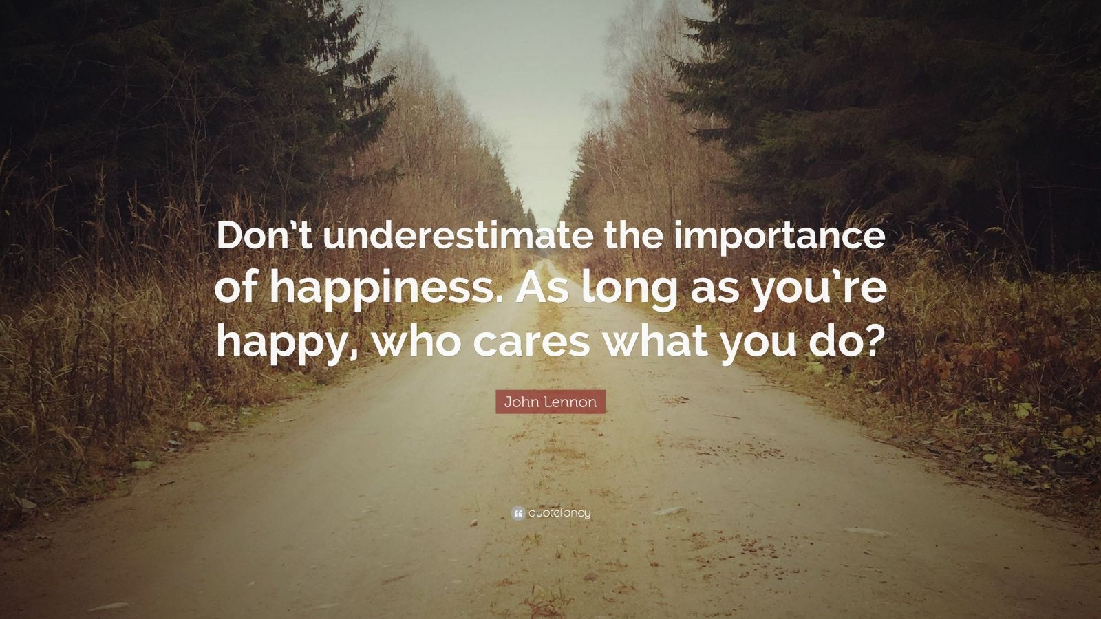"John Lennon Quote: ""Don't underestimate the importance of happiness. As long as you're happy, who cares what you do?"""