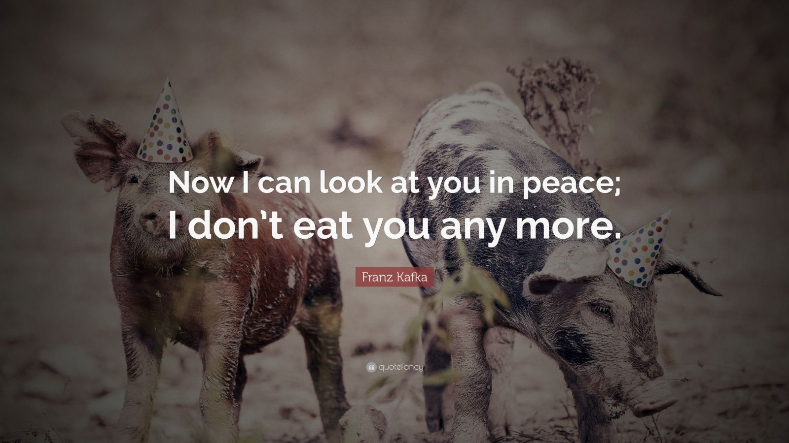 "Quotes About Veganism: ""Now I can look at you in peace; I don't eat you any more."" — Franz Kafka"