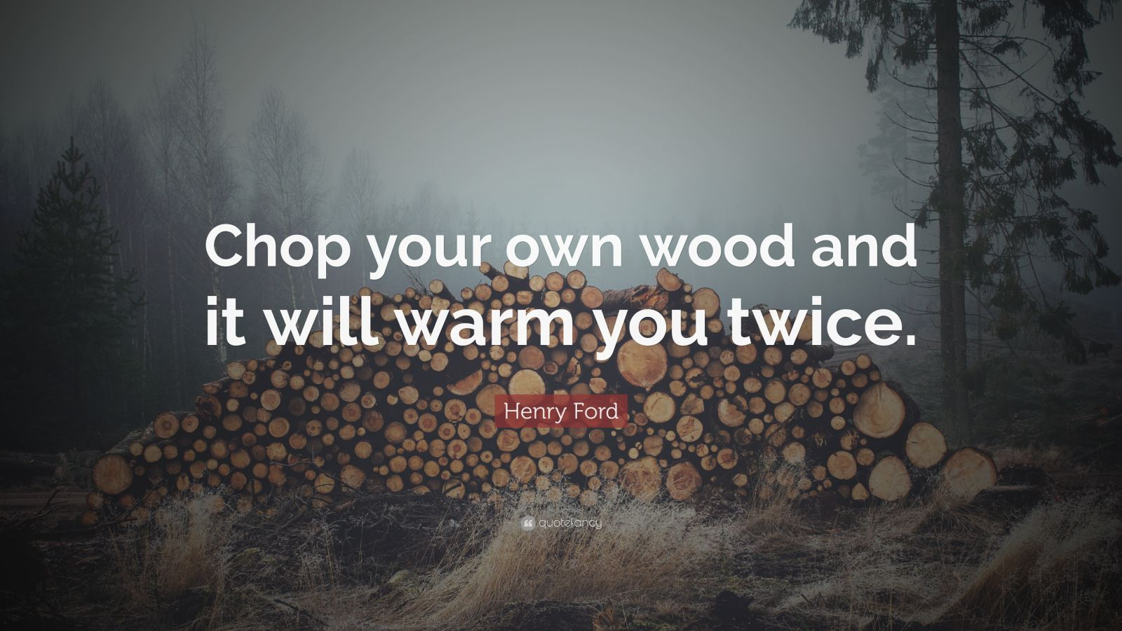 """Henry Ford Quote: """"Chop your own wood and it will warm you twice."""""""
