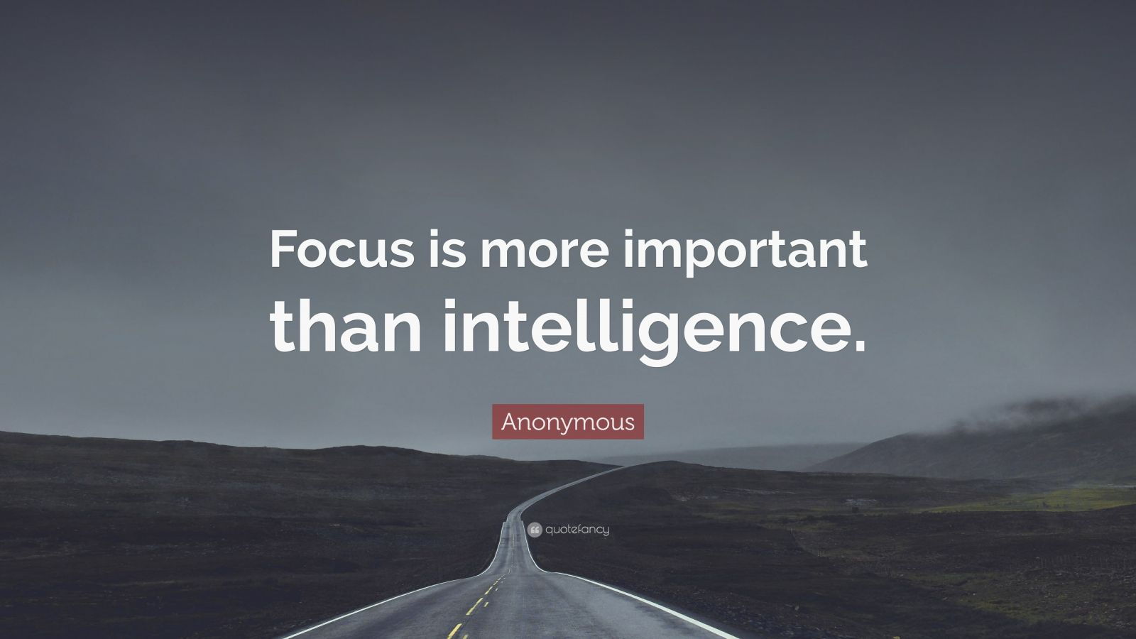 "Anonymous Quote: ""Focus is more important than intelligence."""