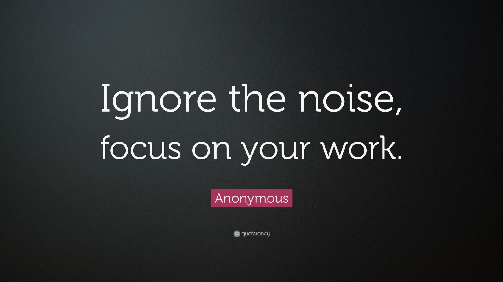 "Anonymous Quote: ""Ignore the noise, focus on your work."""