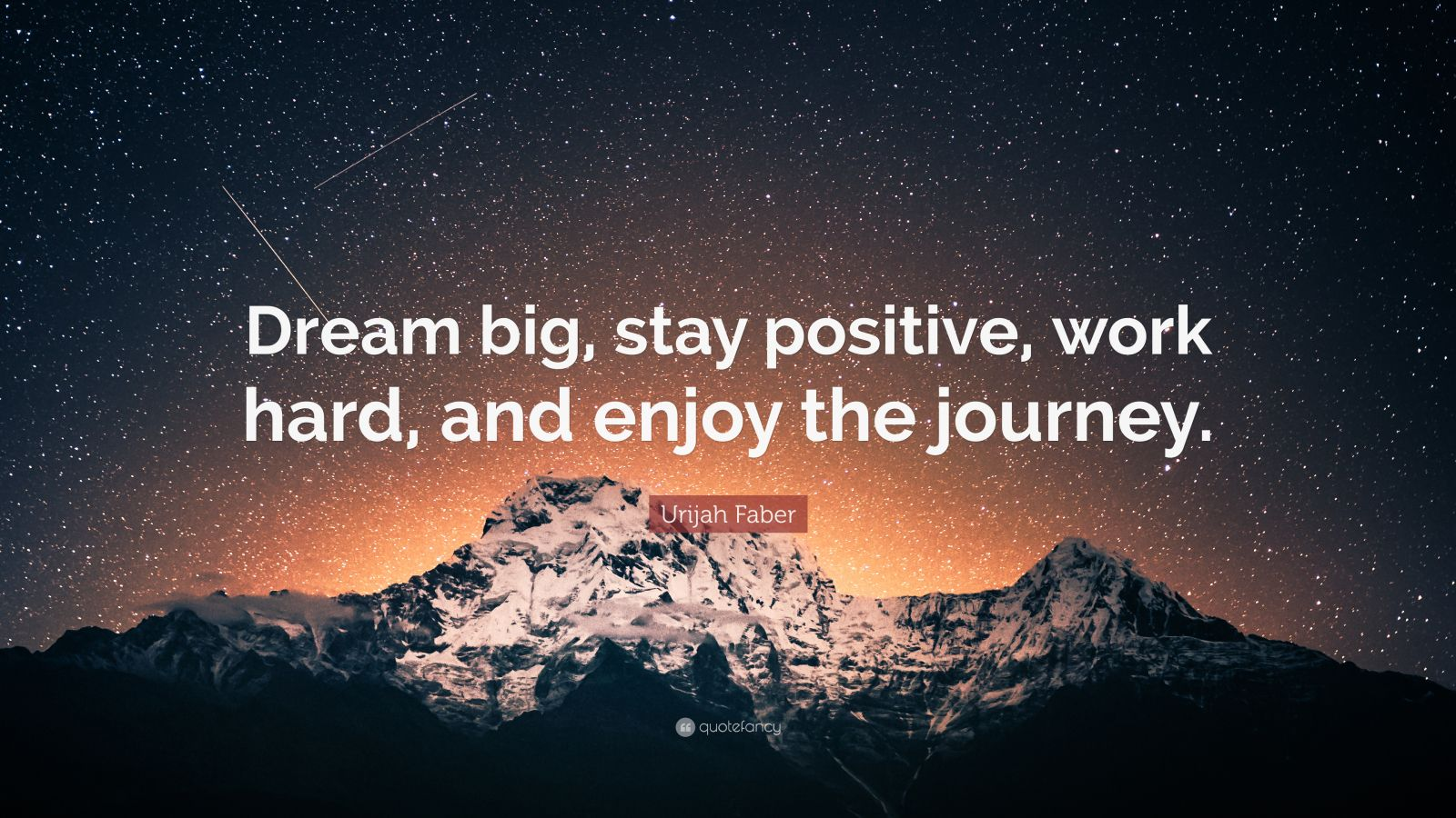 "Hard Work Quotes: ""Dream big, stay positive, work hard, and enjoy the journey."" — Urijah Faber"