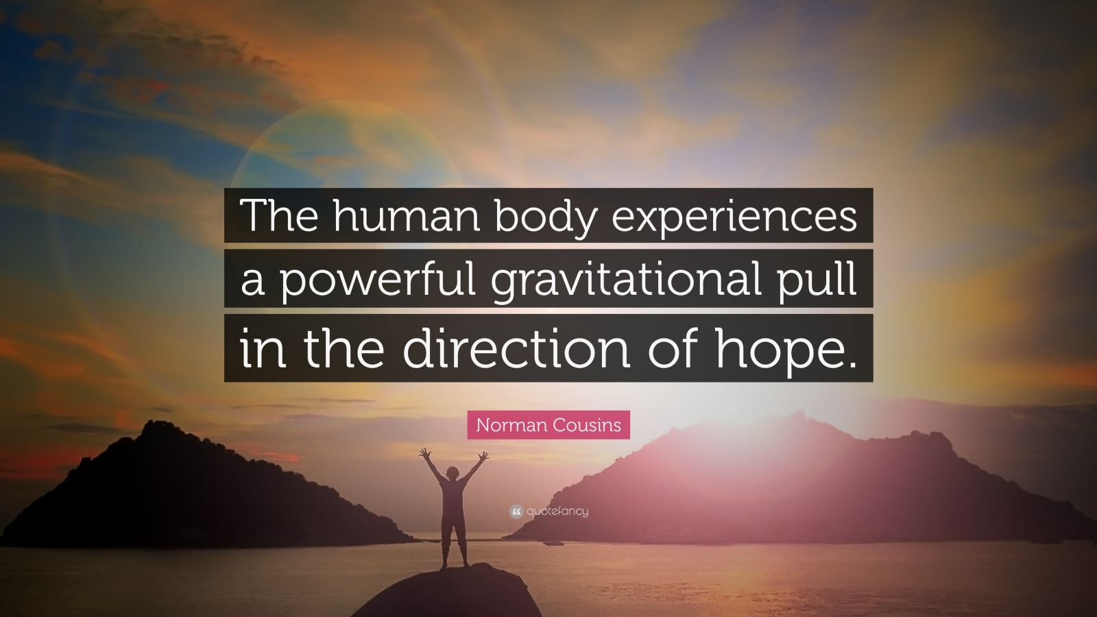 """Norman Cousins Quote: """"The human body experiences a powerful gravitational pull in the direction of hope."""""""