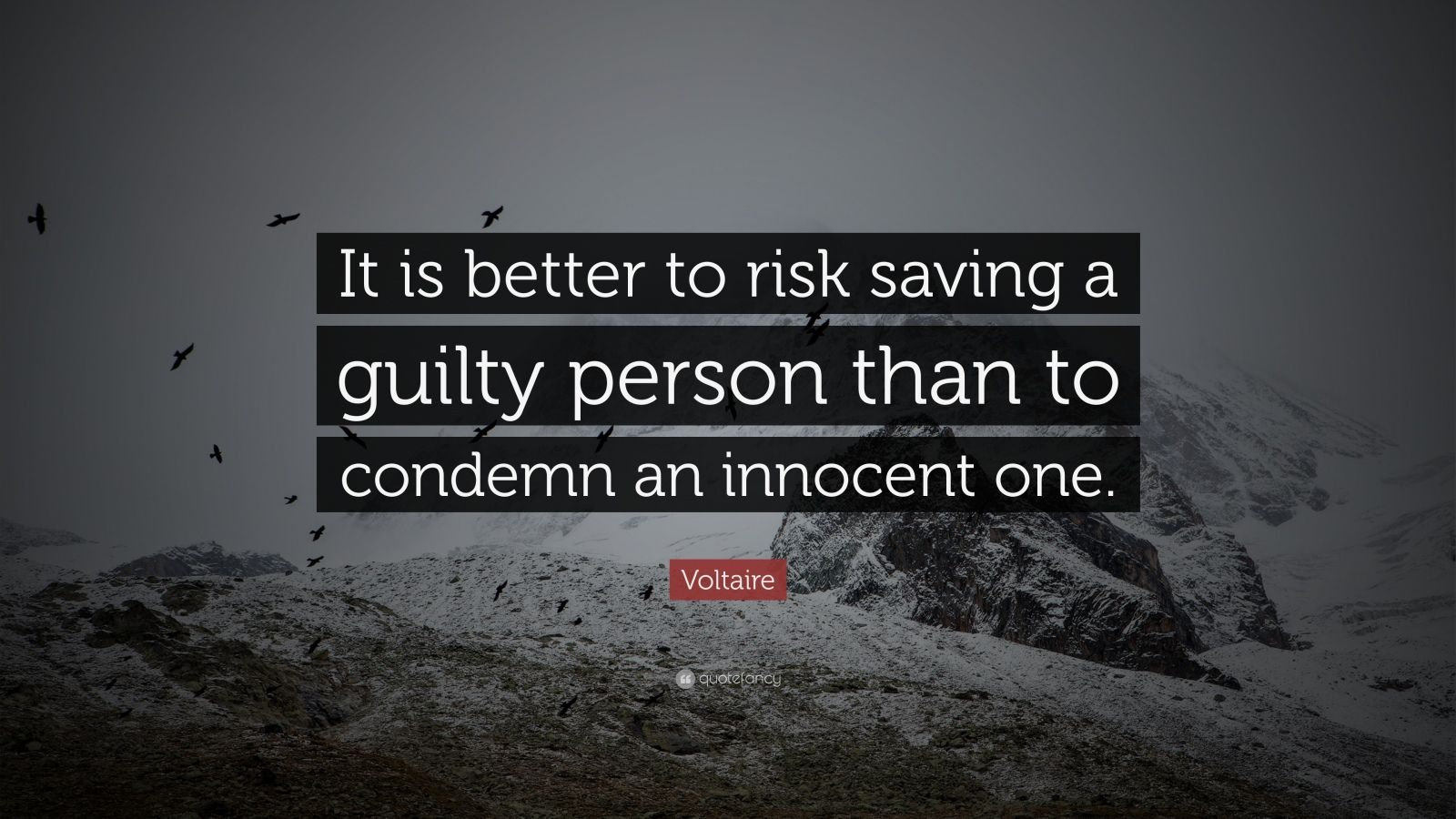 """Voltaire Quote: """"It is better to risk saving a guilty person than to condemn an innocent one."""""""