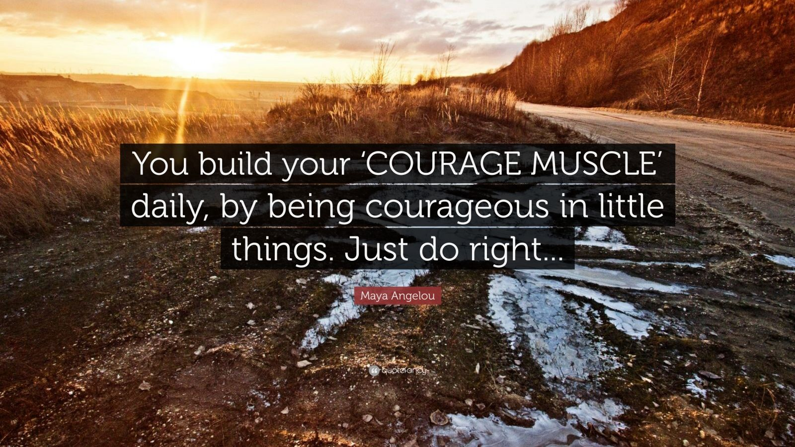 """Maya Angelou Quote: """"You build your 'COURAGE MUSCLE' daily, by being courageous in little things. Just do right..."""""""