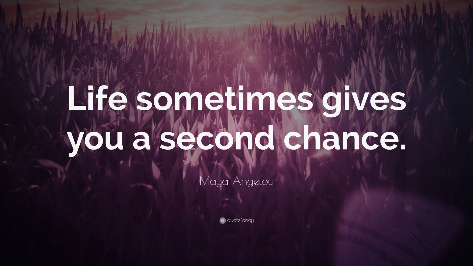 """Maya Angelou Quote: """"Life sometimes gives you a second chance."""""""