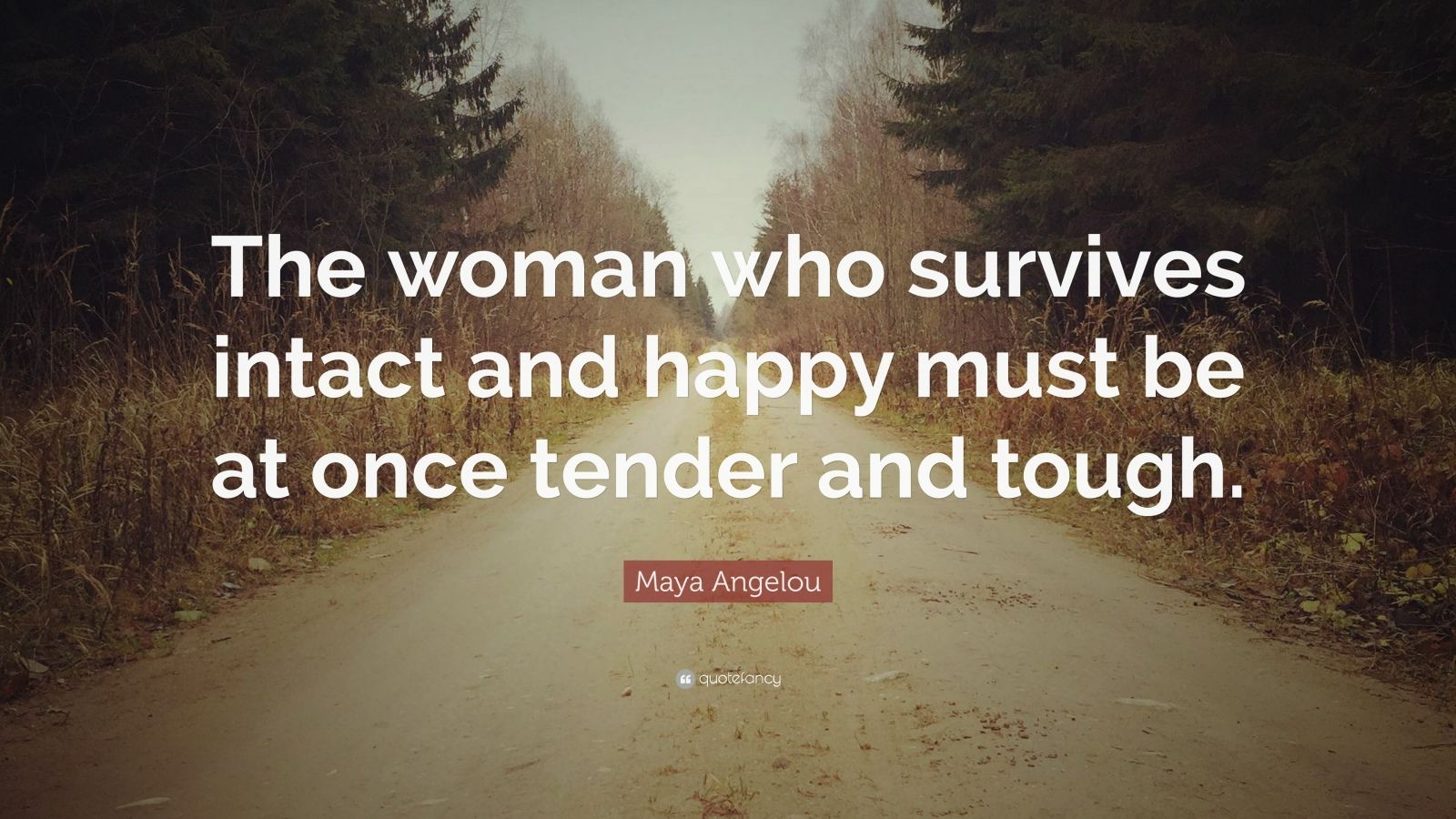 """Maya Angelou Quote: """"The woman who survives intact and happy must be at once tender and tough."""""""