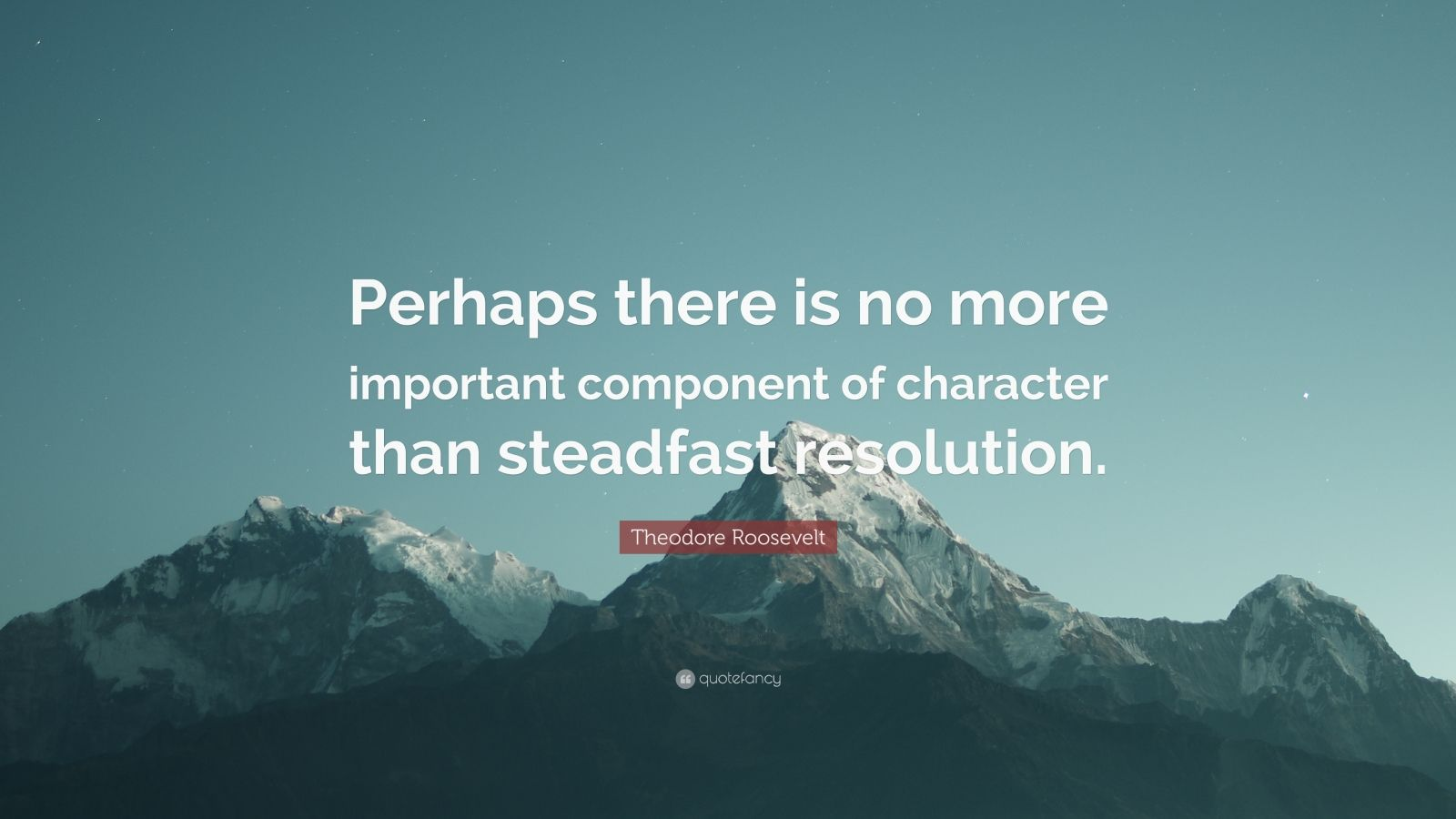"Theodore Roosevelt Quote: ""Perhaps there is no more important component of character than steadfast resolution."""