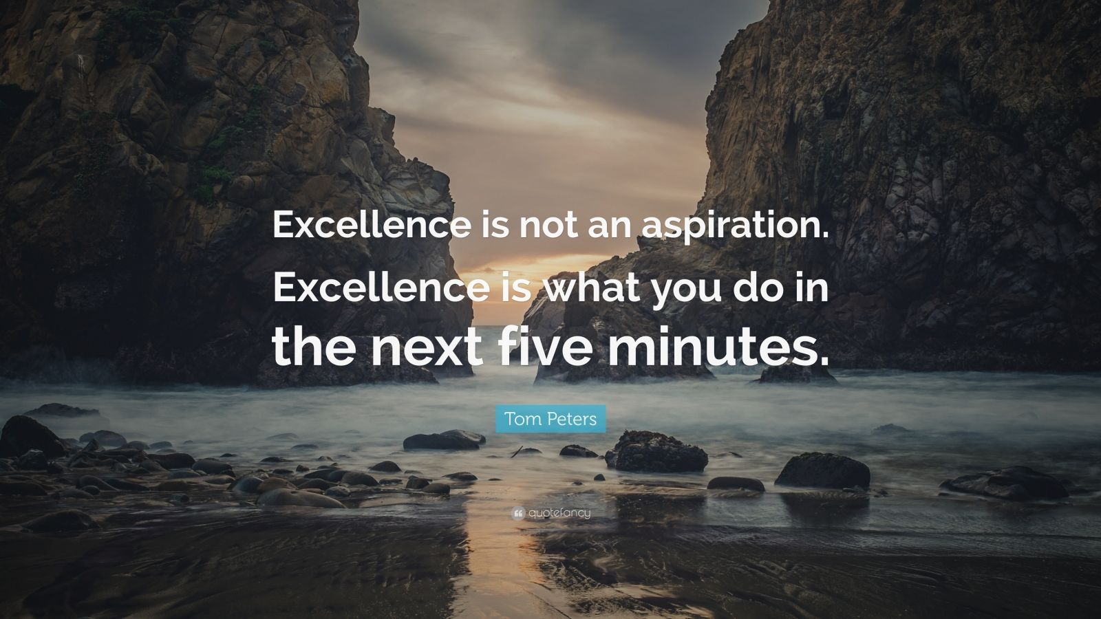 """Tom Peters Quote: """"Excellence is not an aspiration. Excellence is what you do in the next five minutes."""""""