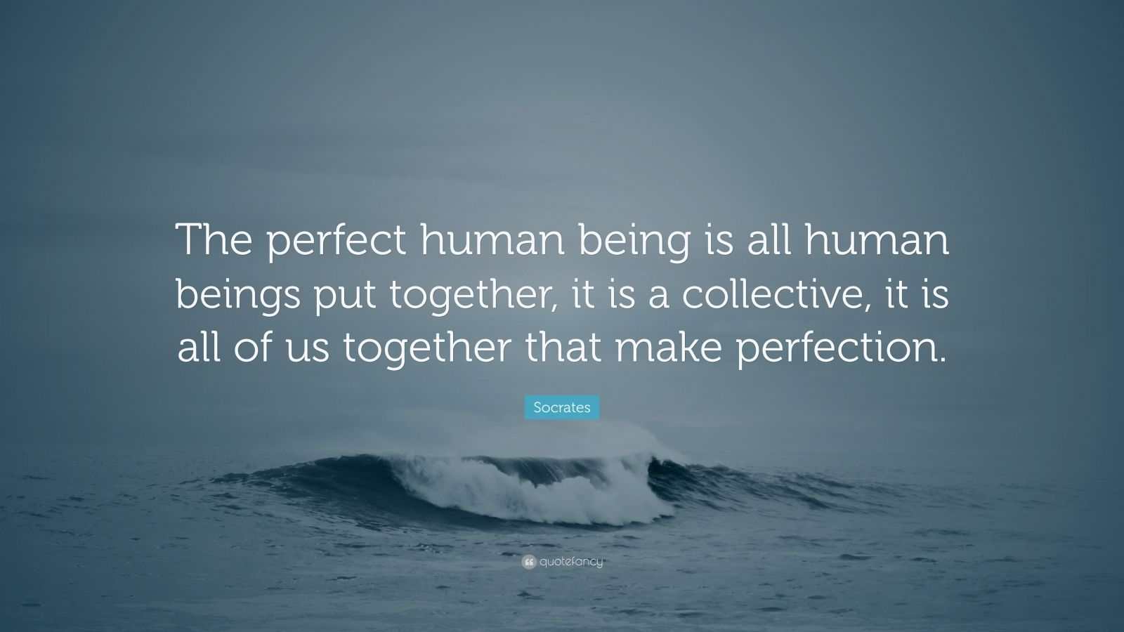 "Socrates Quote: ""The perfect human being is all human beings put together, it is a collective, it is all of us together that make perfection."""