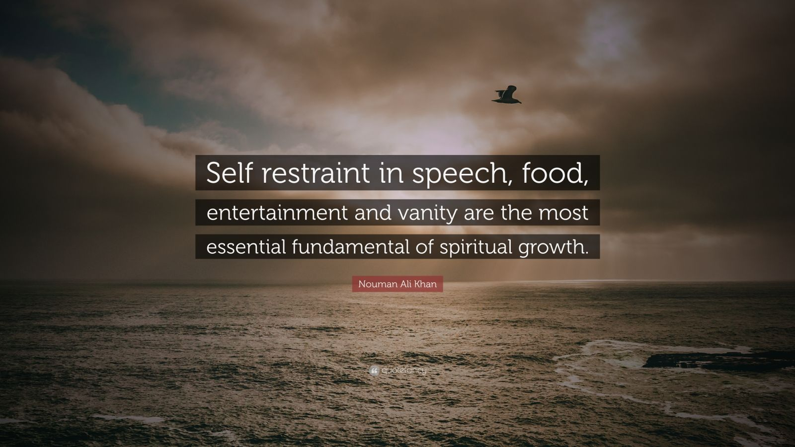 "Nouman Ali Khan Quote: ""Self restraint in speech, food, entertainment and vanity are the most essential fundamental of spiritual growth."""