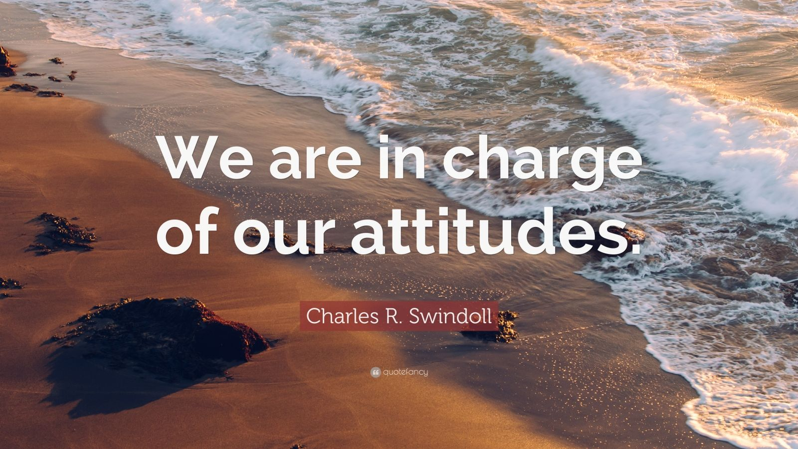 """Charles R. Swindoll Quote: """"We are in charge of our attitudes."""""""