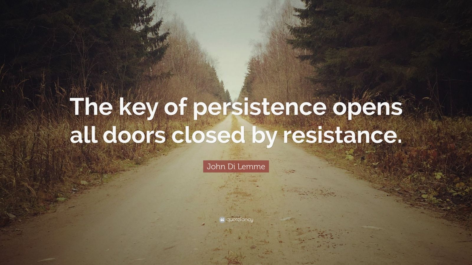 "John Di Lemme Quote: ""The key of persistence opens all doors closed by resistance."""