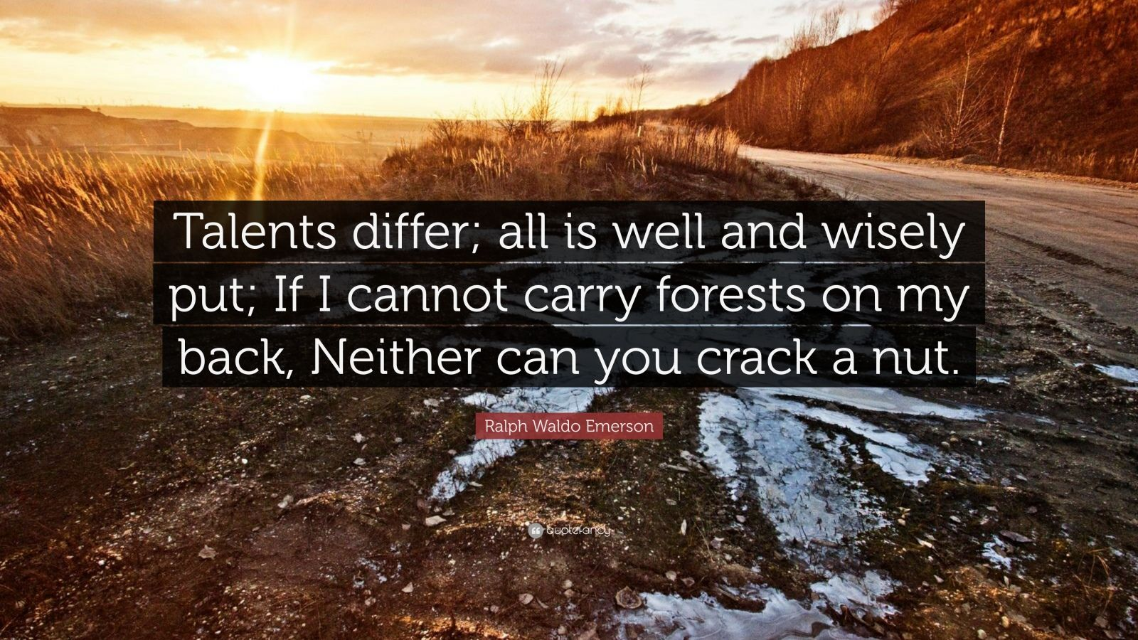 """Ralph Waldo Emerson Quote: """"Talents differ; all is well and wisely put; If I cannot carry forests on my back, Neither can you crack a nut."""""""