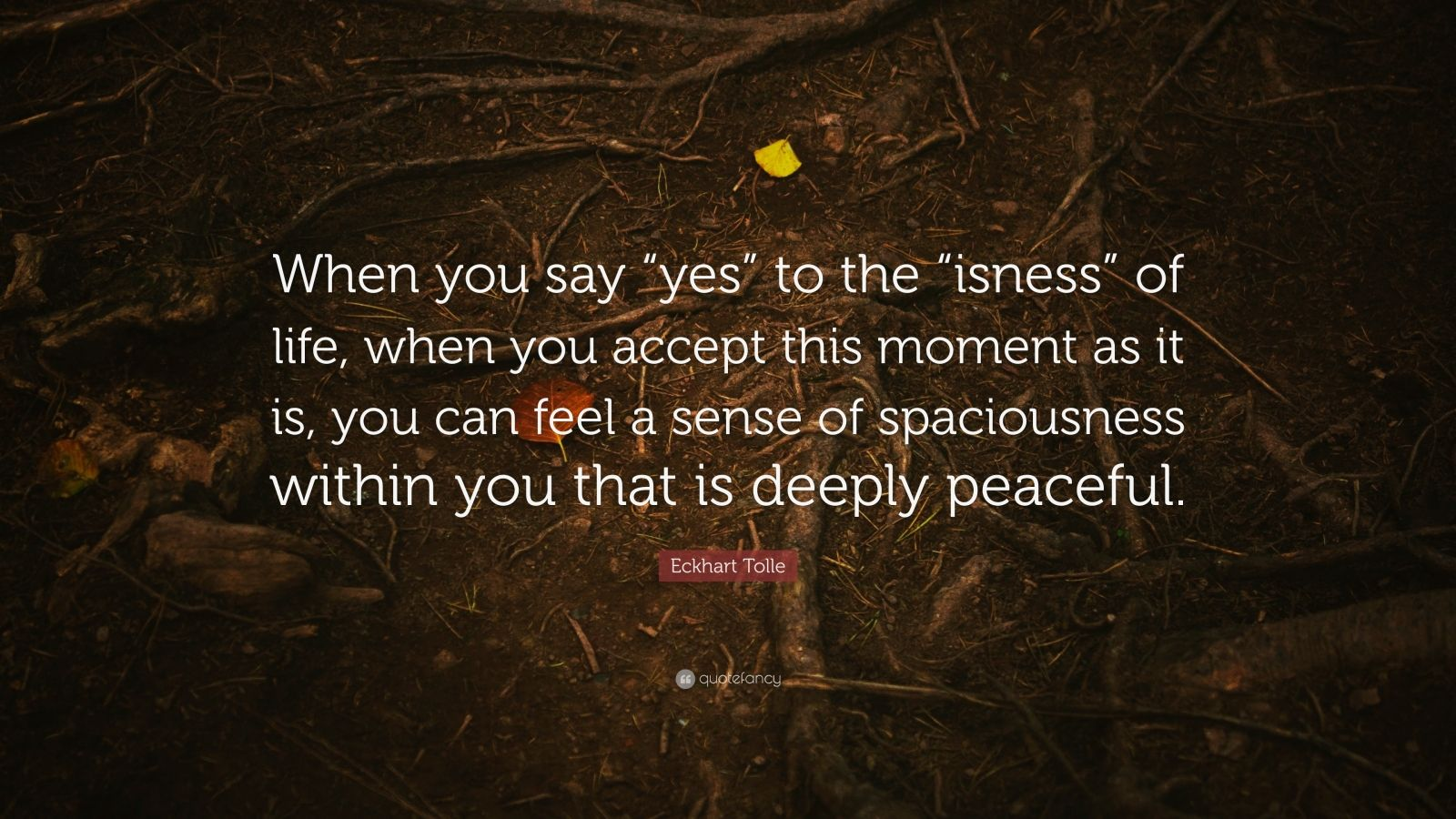 "Eckhart Tolle Quote: ""When you say ""yes"" to the ""isness"" of life, when you accept this moment as it is, you can feel a sense of spaciousness within you that is deeply peaceful."""