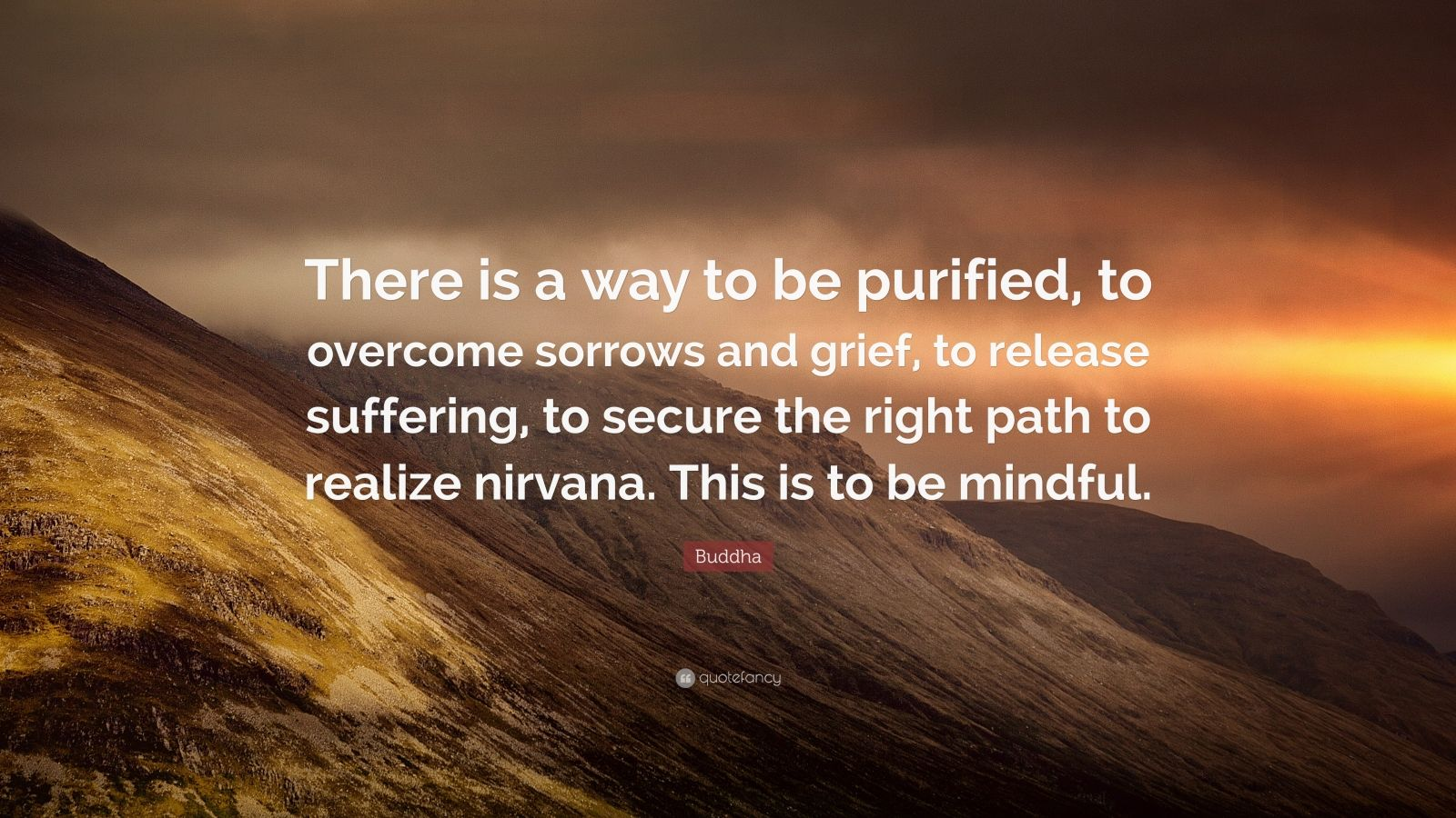 """Buddha Quote: """"There is a way to be purified, to overcome sorrows and grief, to release suffering, to secure the right path to realize nirvana. This is to be mindful."""""""