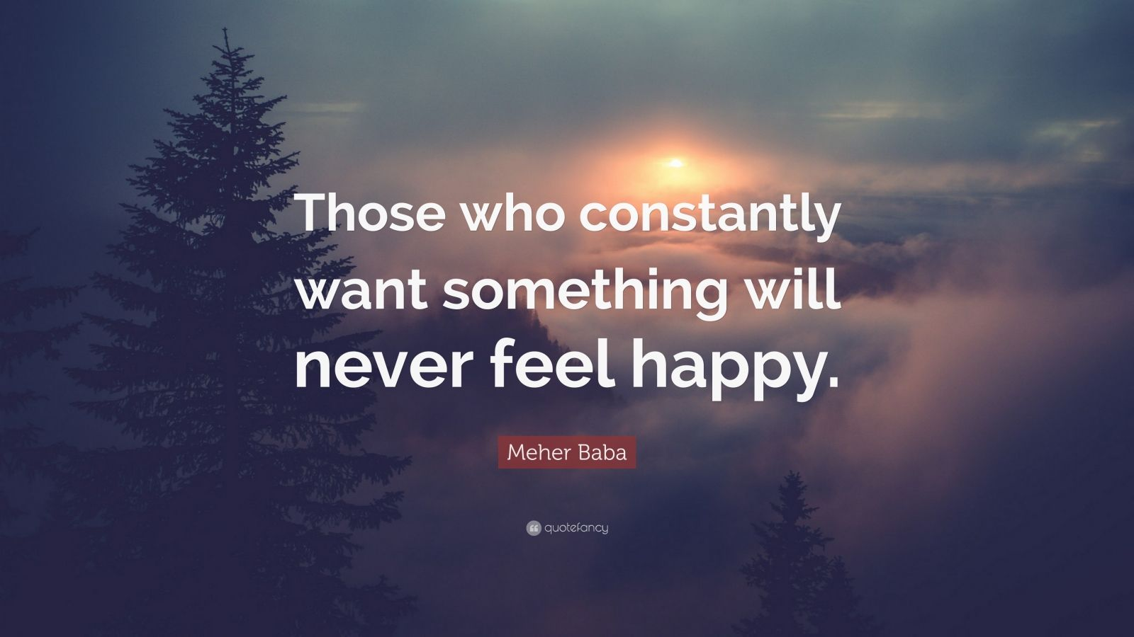 """Meher Baba Quote: """"Those who constantly want something will never feel happy."""""""