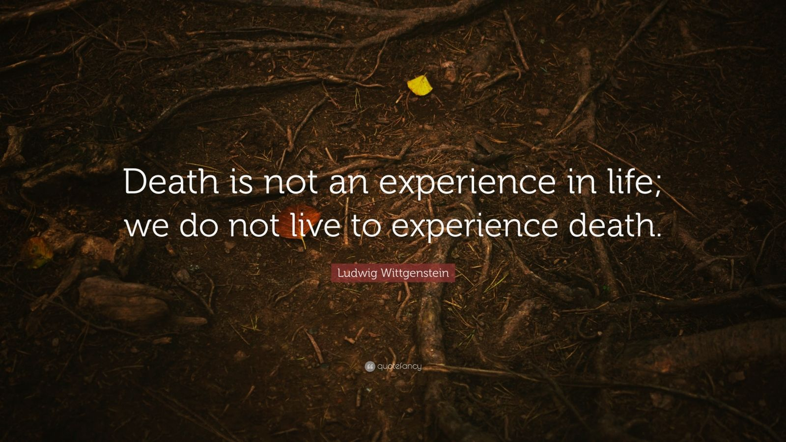 """Ludwig Wittgenstein Quote: """"Death is not an experience in life; we do not live to experience death."""""""